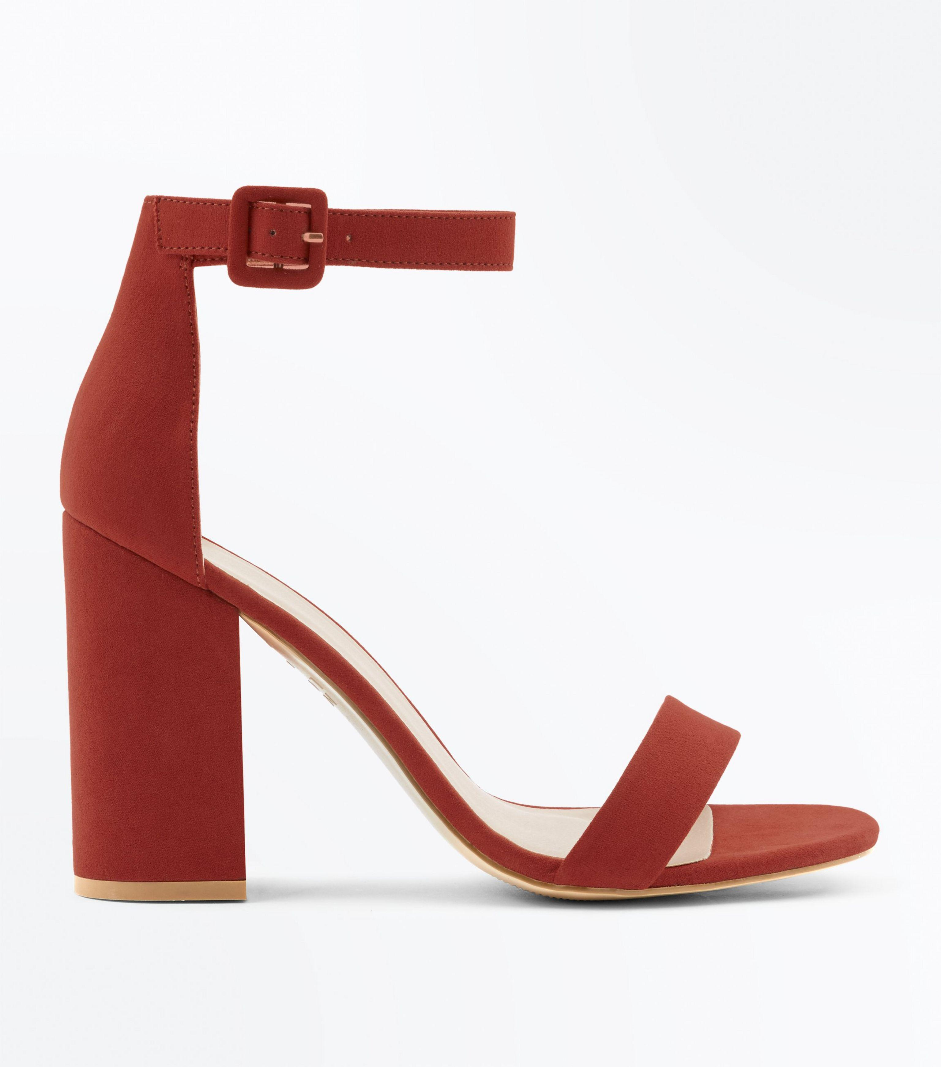 1aa2a155a320 New Look Rust Suedette Barely There Block Heels in Red - Lyst