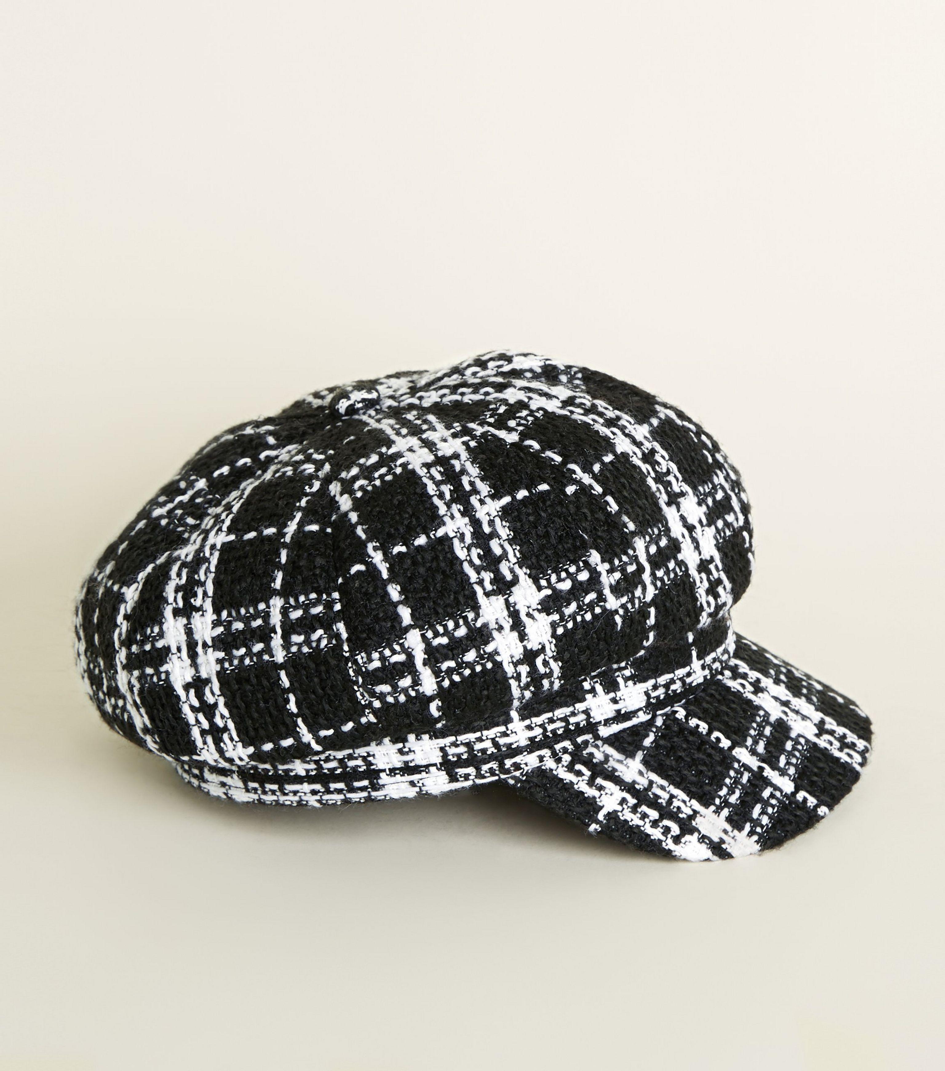 fab6ff1108307 New Look Black Bouclé Check Baker Boy Cap in Black - Lyst