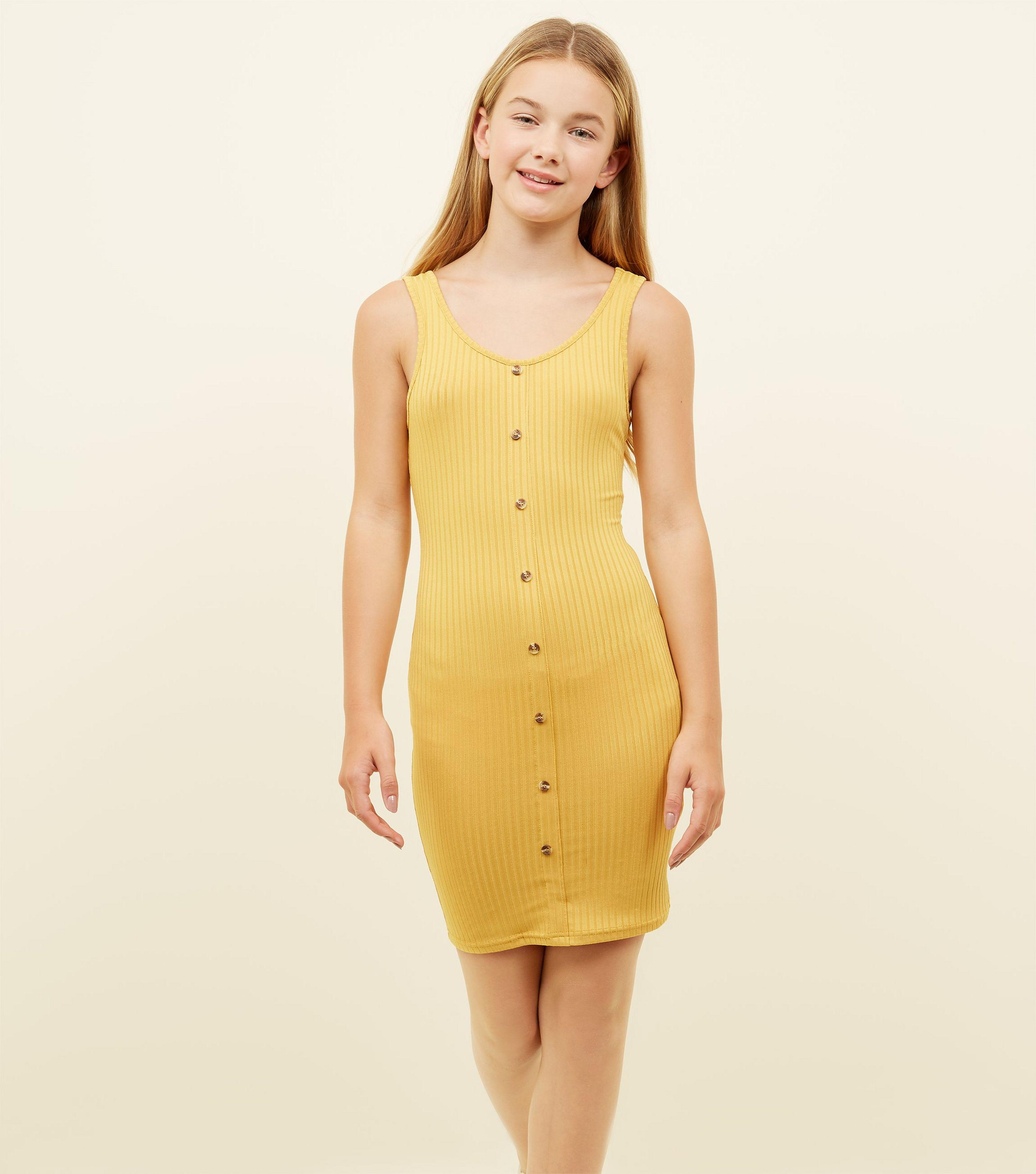 aa48cc51bbf New Look Girls Mustard Button Front Ribbed Bodycon Dress in Yellow ...