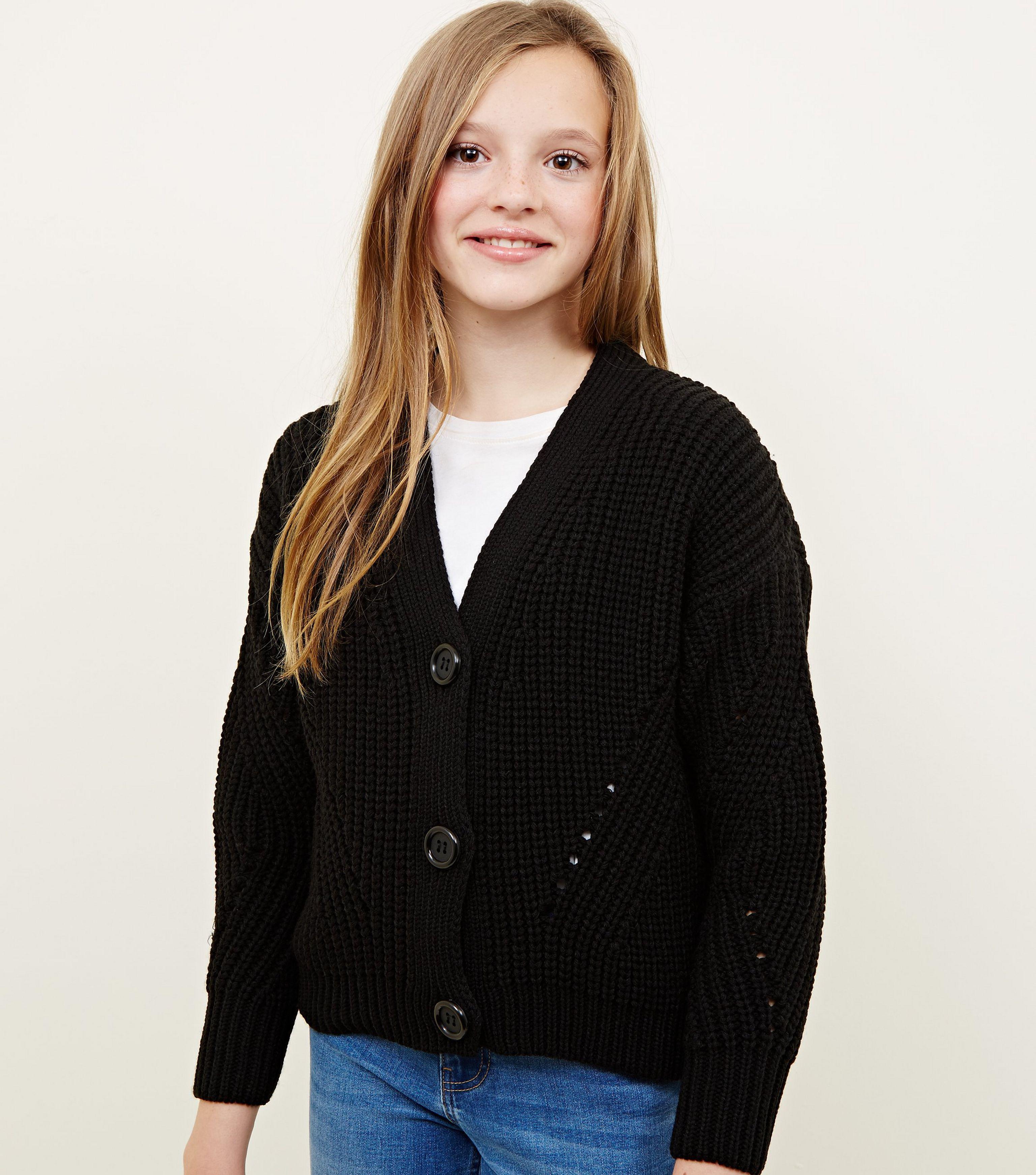 e9f48db145 New Look Girls Black Chunky Ribbed Cardigan in Black - Lyst
