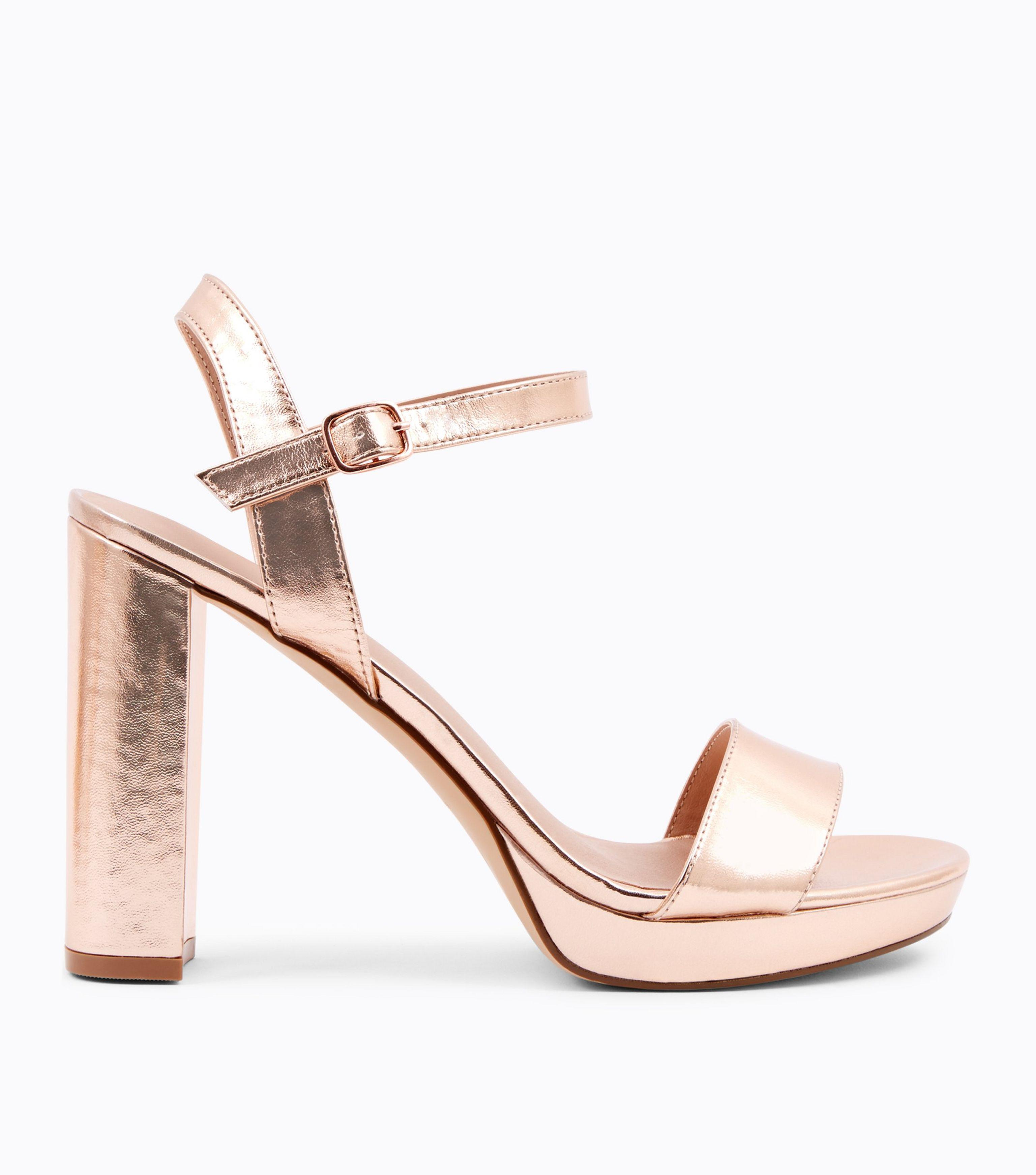 64d1bf24127 Long-Touch to Zoom. New Look - Pink Rose Gold Metallic Block Heel Platform  Sandals ...