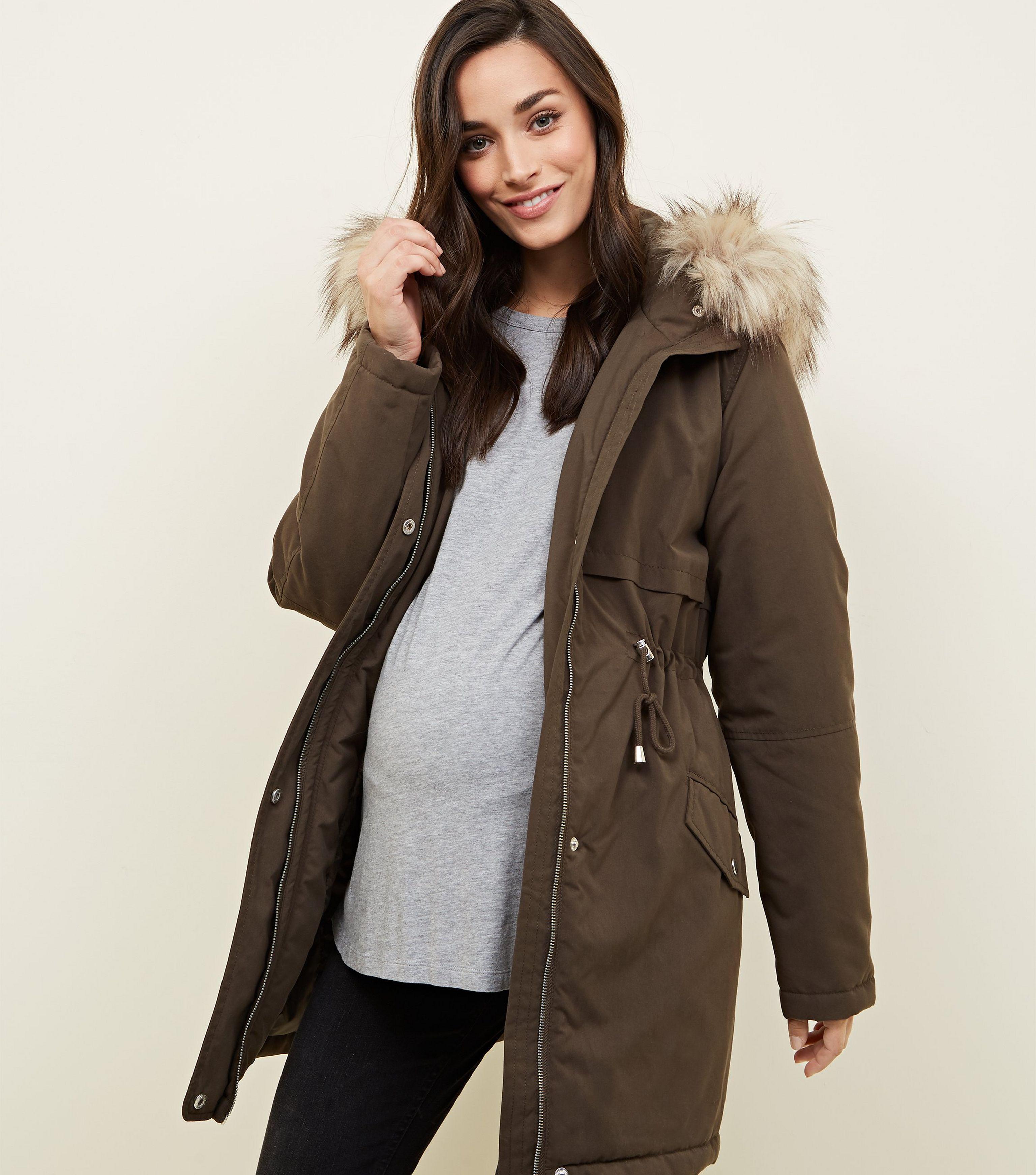 New Parka Lyst Hooded Faux Look Natural In Khaki Trim Fur Maternity rCr0Aq