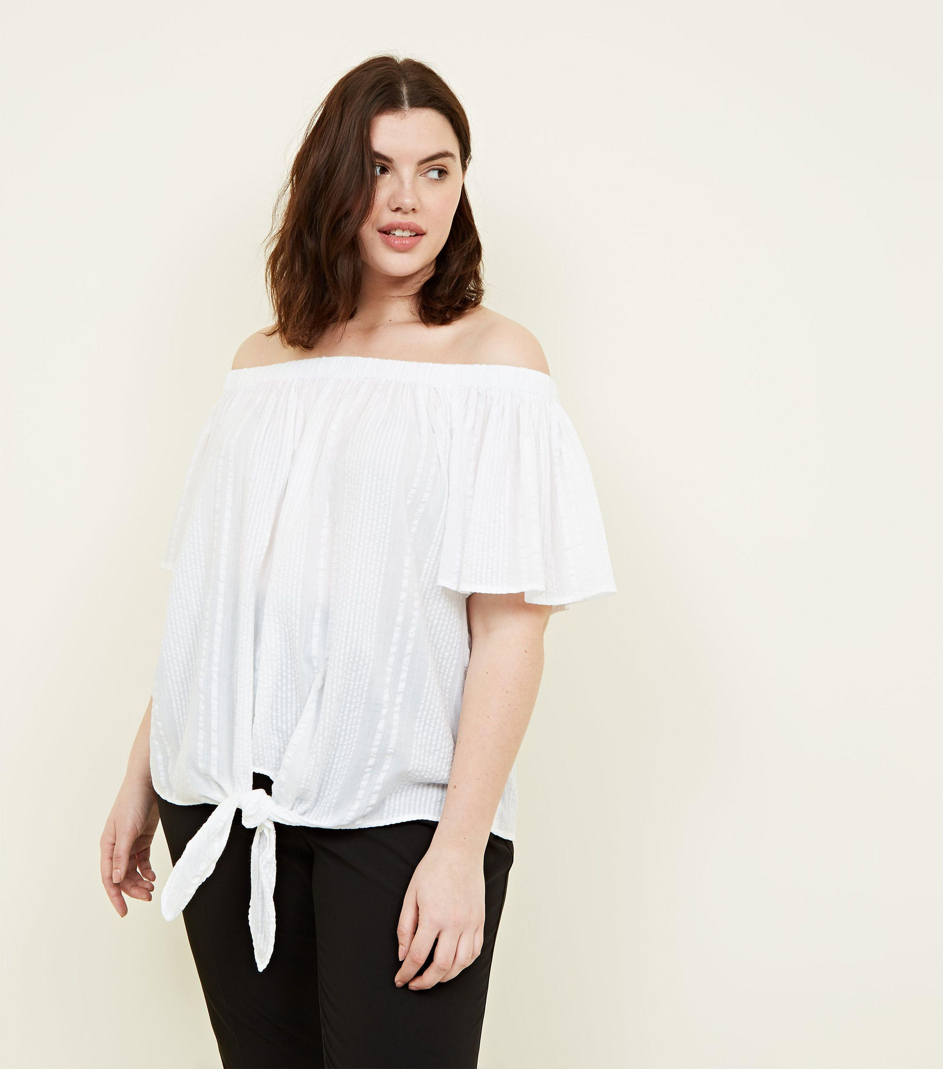 907566d3ff6 New Look Curves White Tie Front Bardot Top in White - Lyst