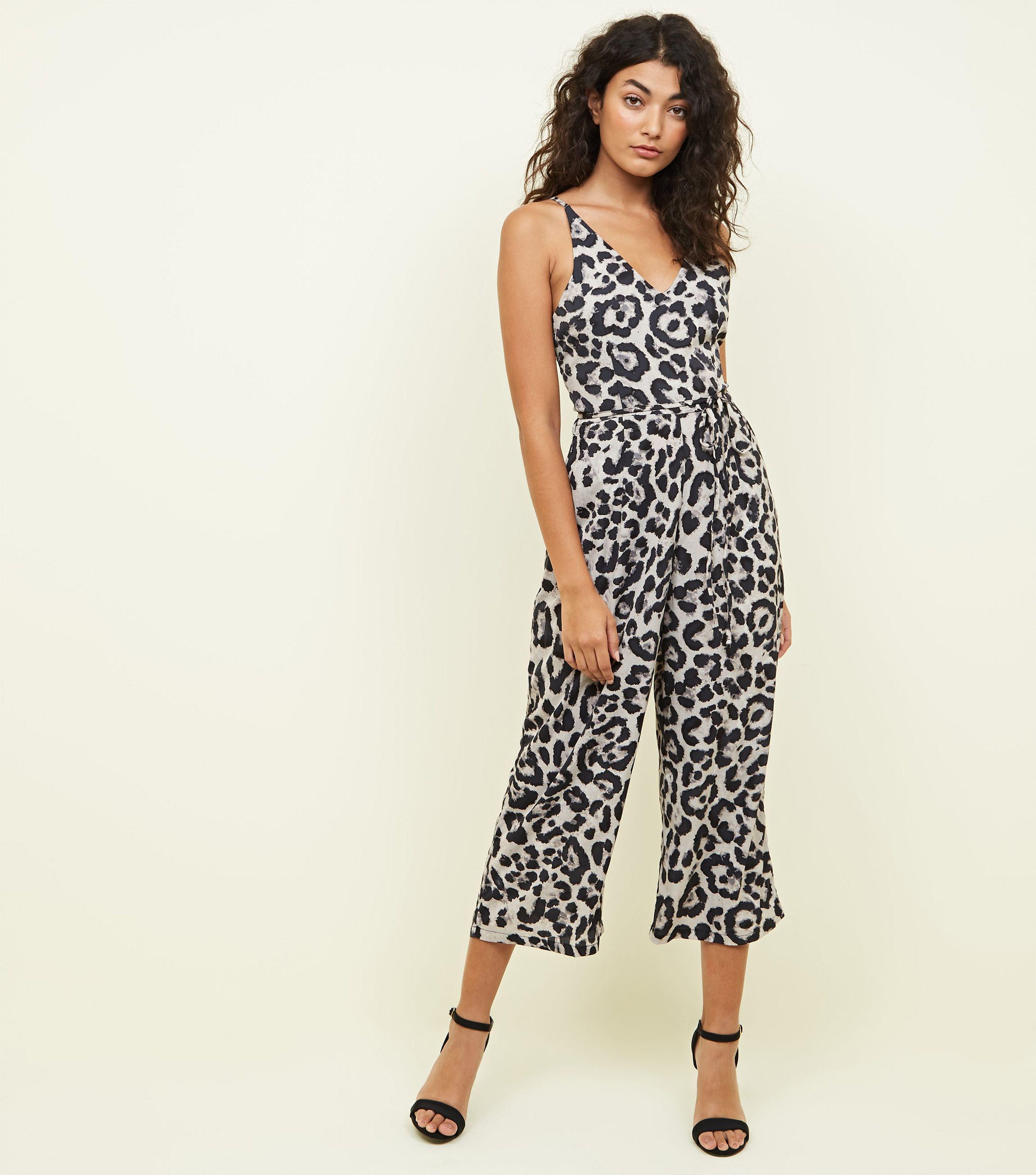 05af826e01e AX Paris Brown Leopard Print Culotte Jumpsuit in Brown - Lyst