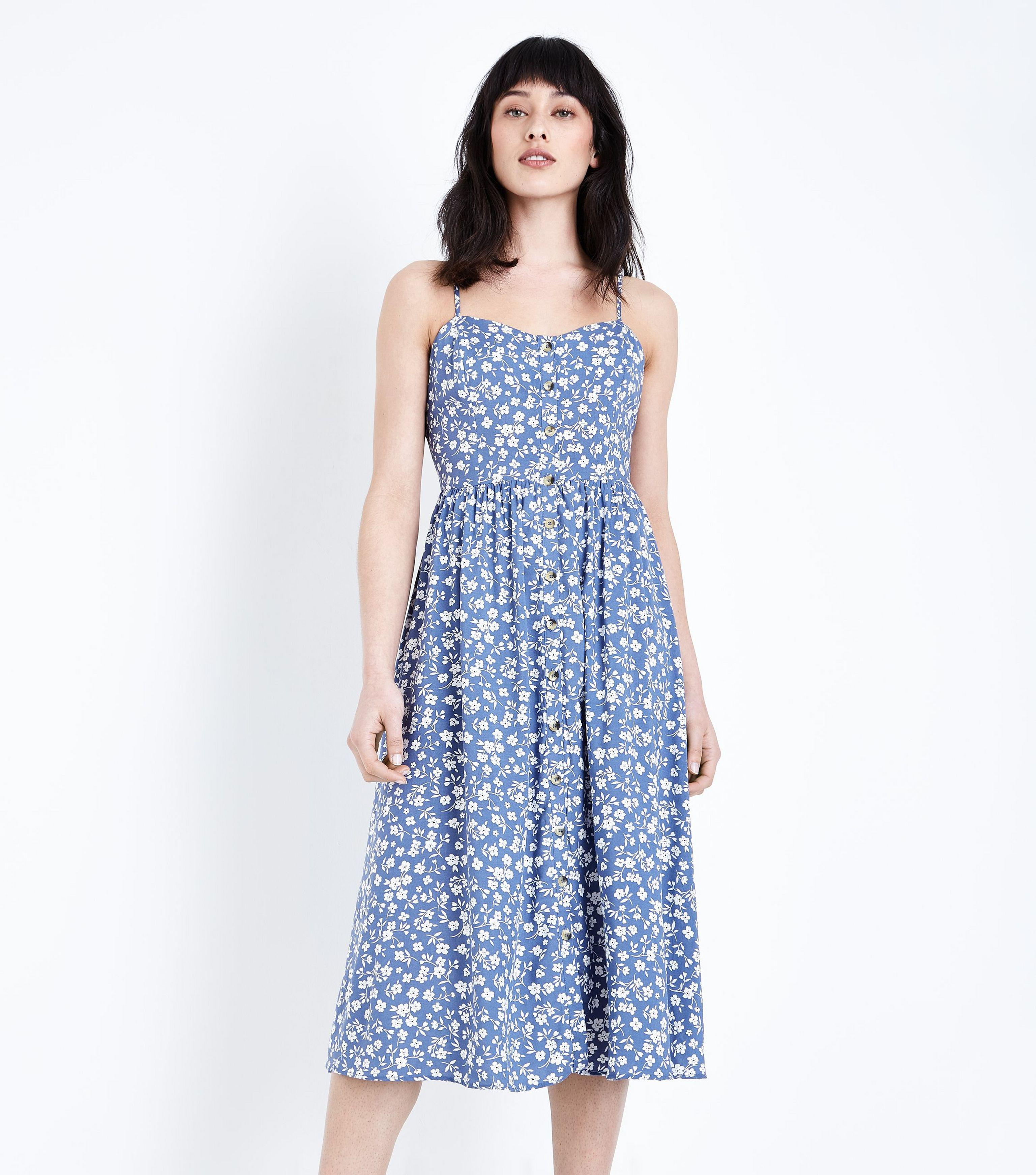 New Look Pale Blue Ditsy Floral Midi Dress in Blue - Lyst