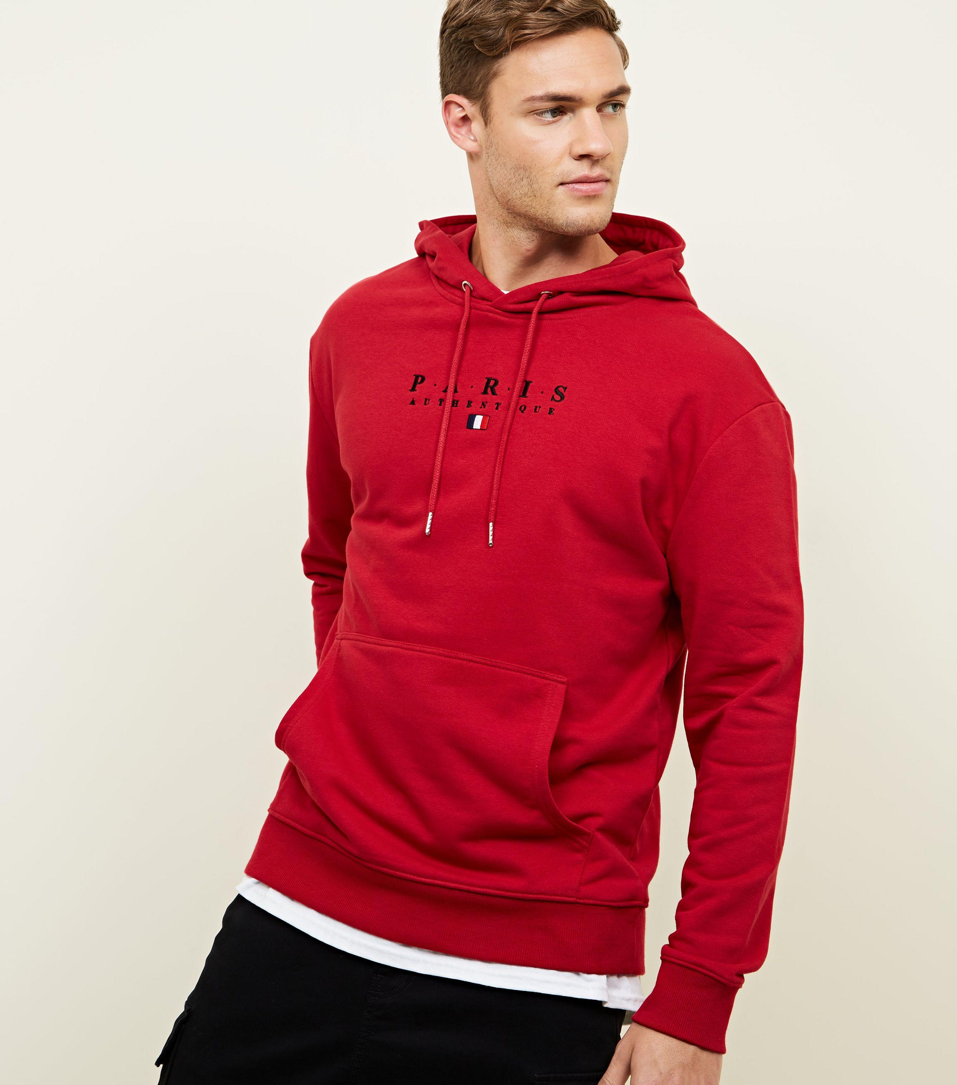 New Look Red Paris Embroidered Hoodie in Red for Men - Lyst 082115032c
