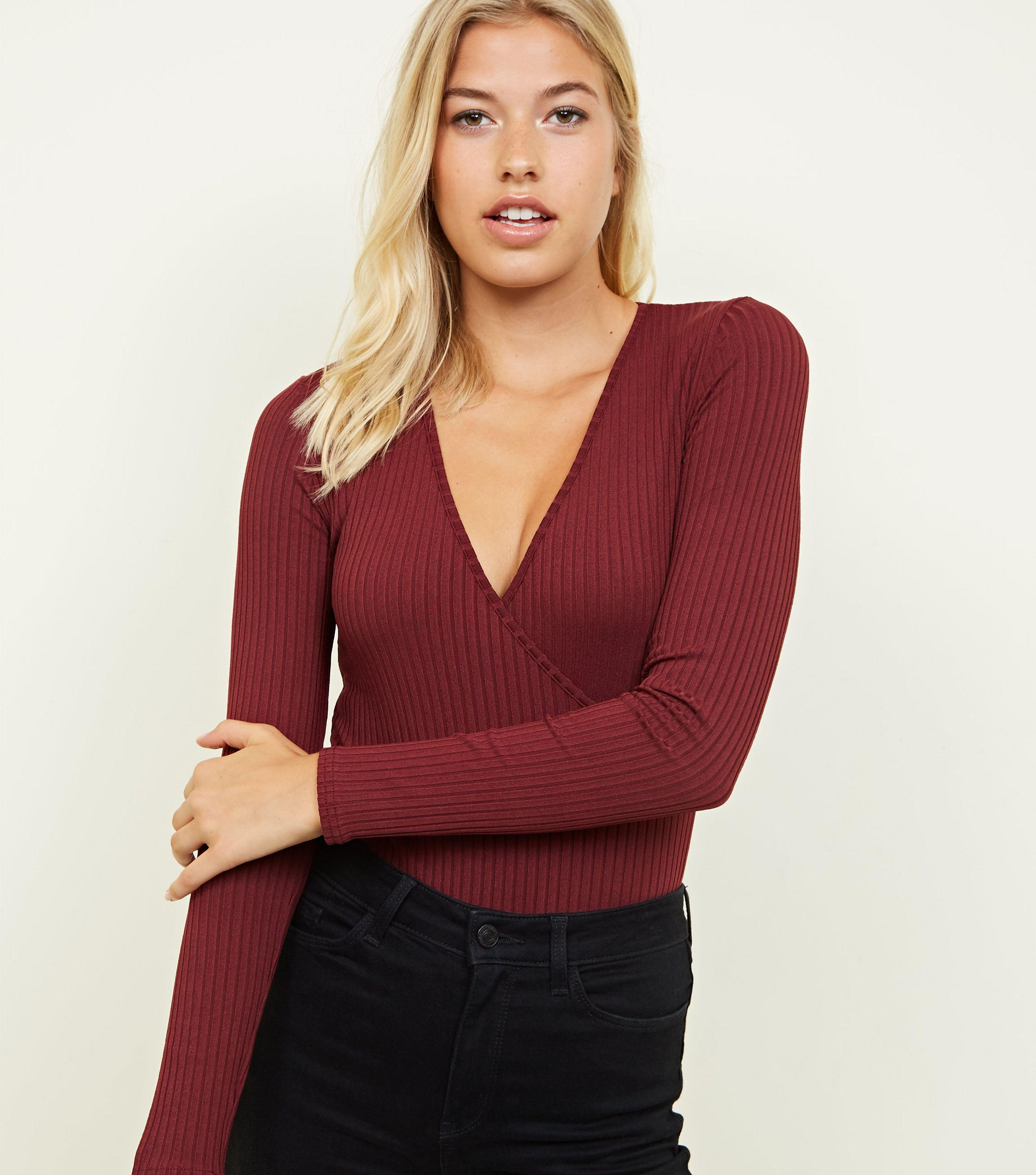 9bb34566cd New Look Burgundy Ribbed Long Sleeve Wrap Bodysuit in Red - Lyst