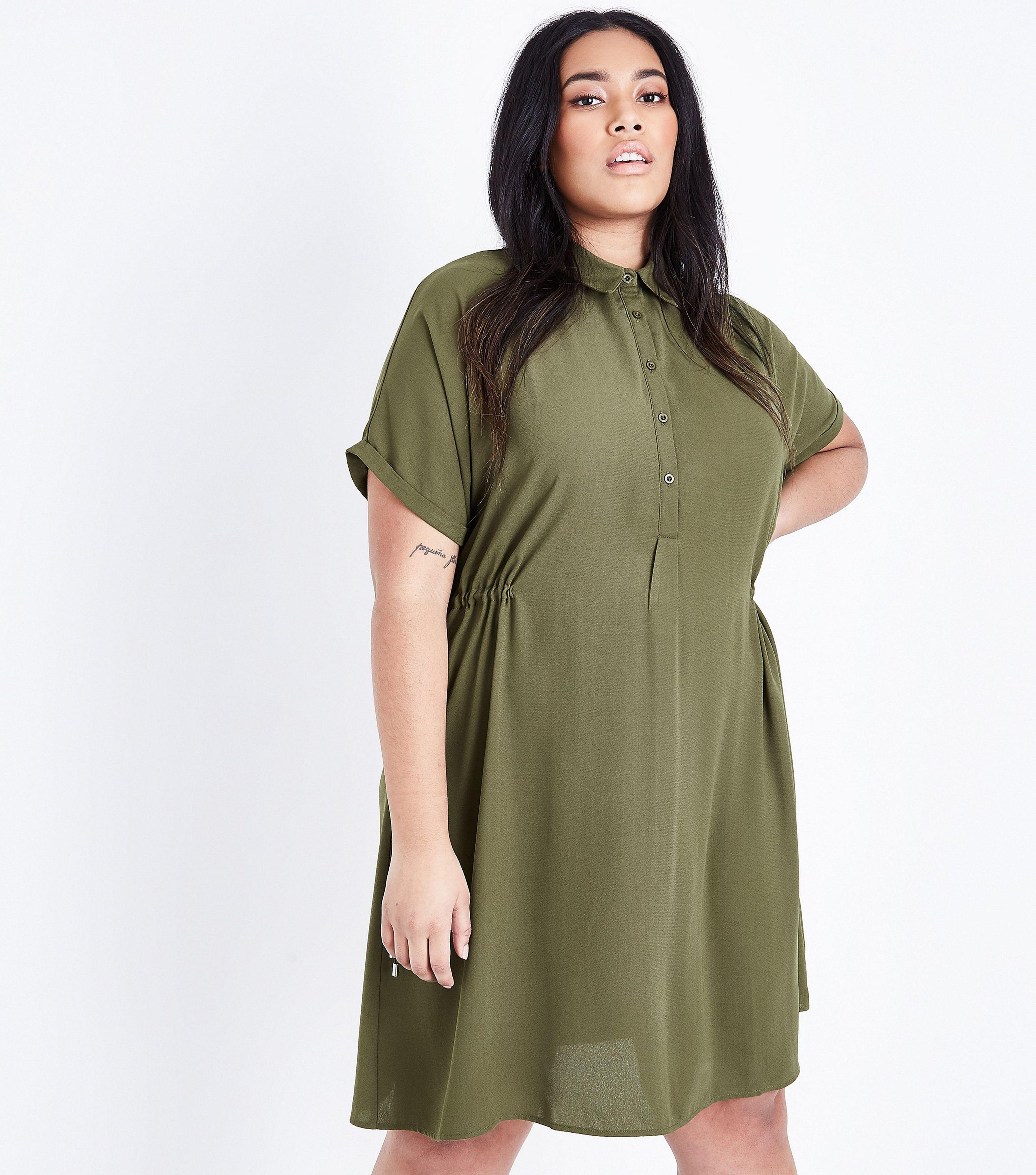 1c45941a32 New Look Curves Khaki Toggle Waist Shirt Dress in Green - Lyst
