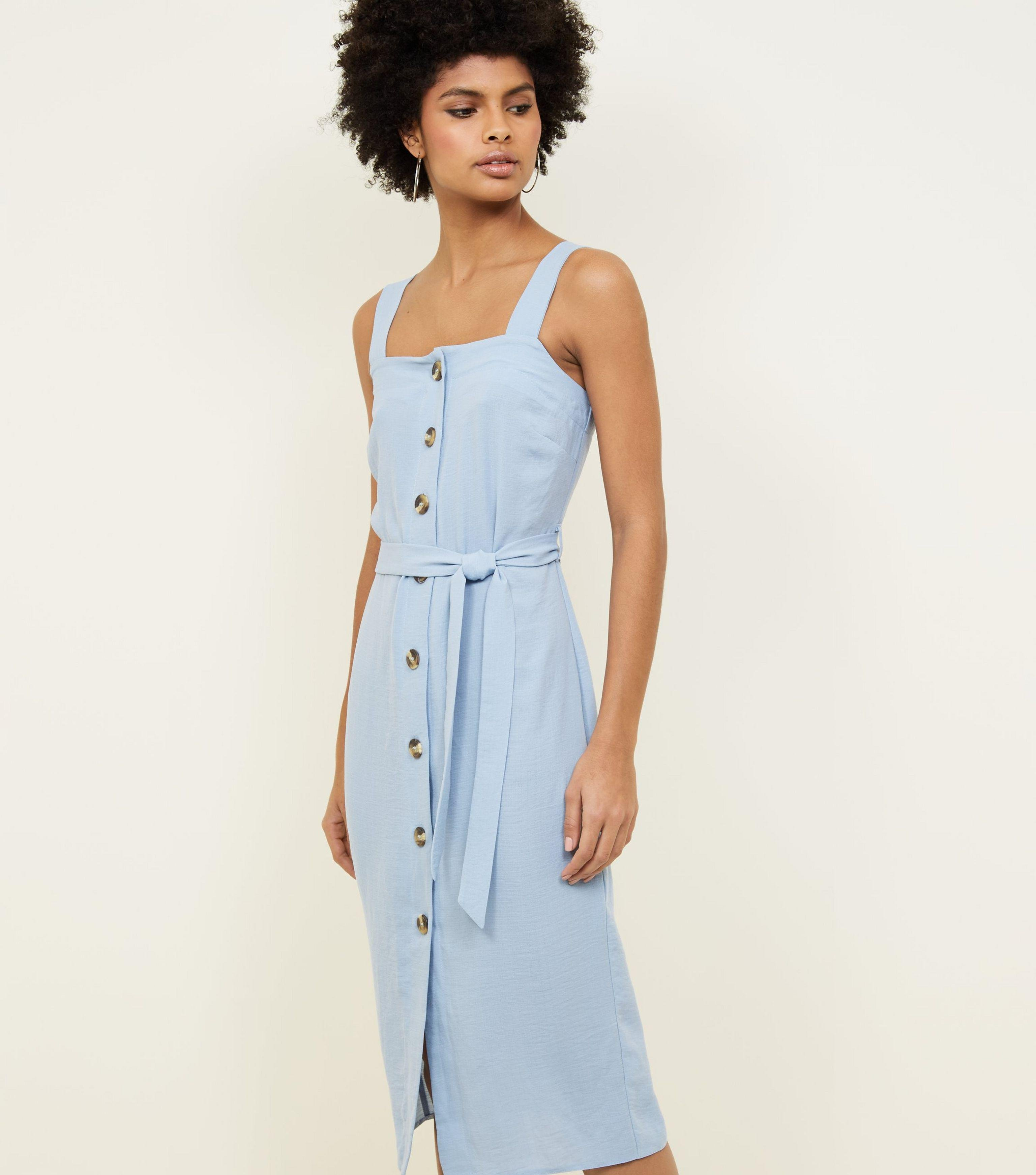 32c2f8582f New Look Pale Blue Button Up Belted Linen-look Midi Dress in Blue - Lyst