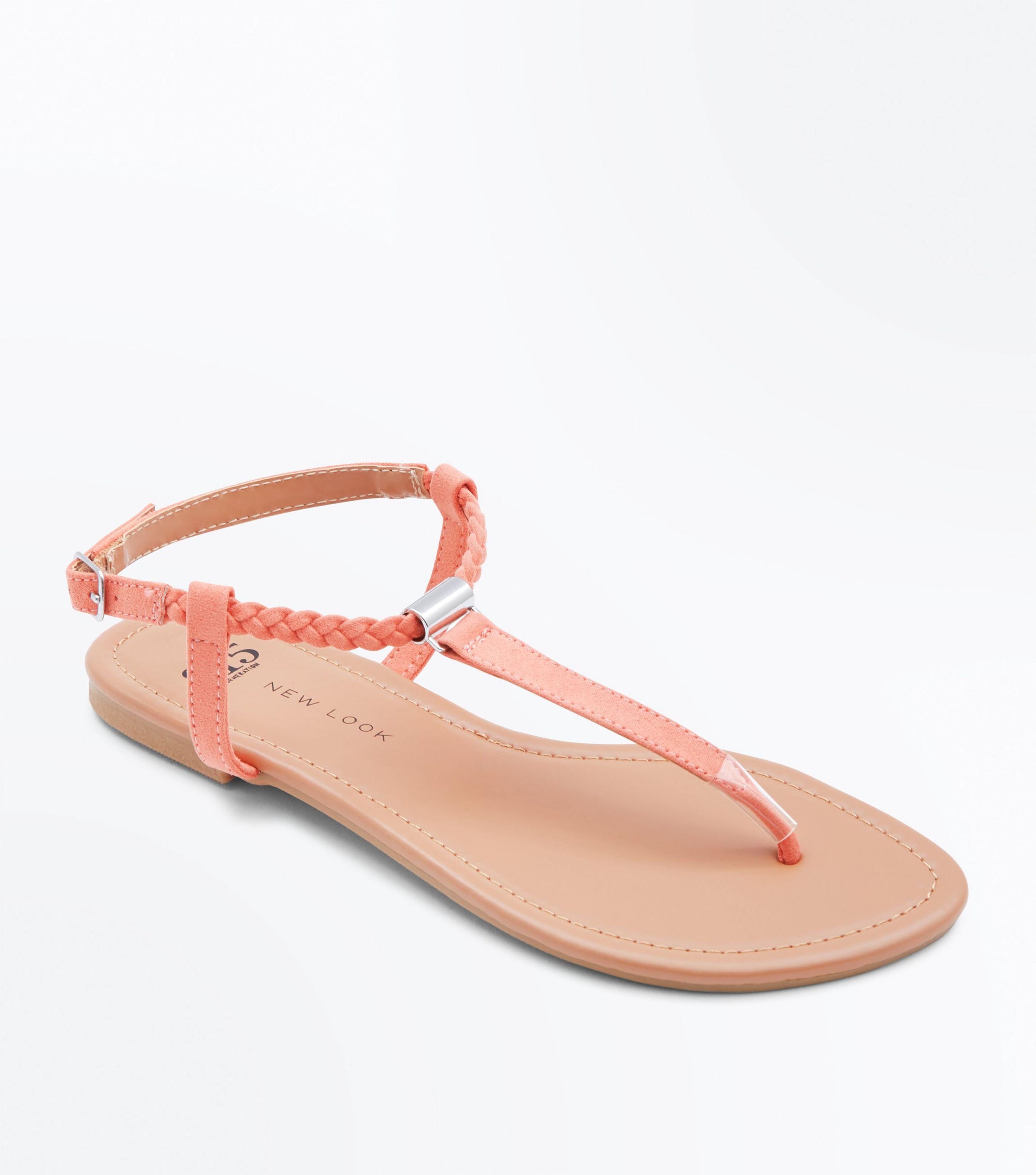 97f400939 New Look Teens Coral Plait Strap Flat Sandals in Pink - Lyst