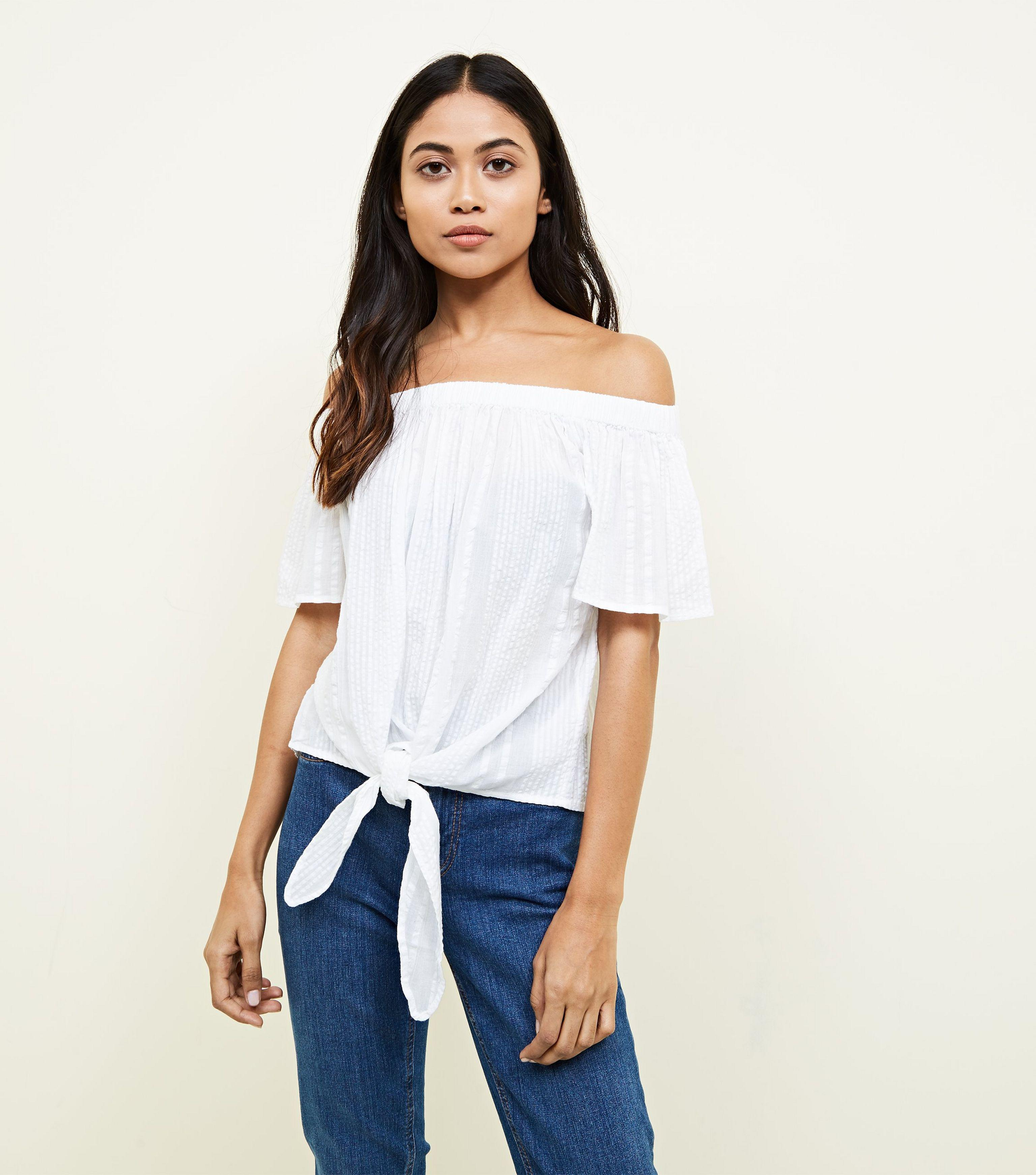 32caa717d87 New Look Petite White Tie Front Bardot Top in White - Lyst