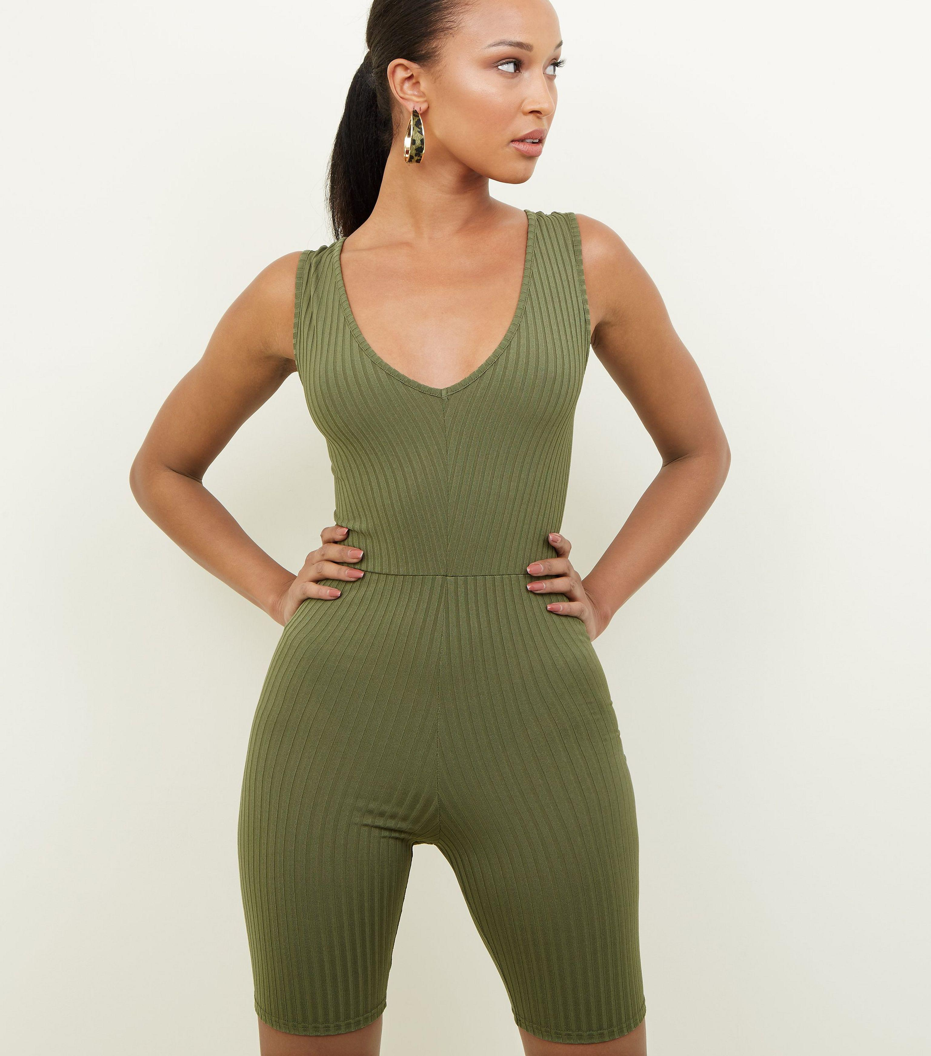 45dc4e7821db New Look Khaki Ribbed Cycling Unitard Playsuit in Green - Lyst