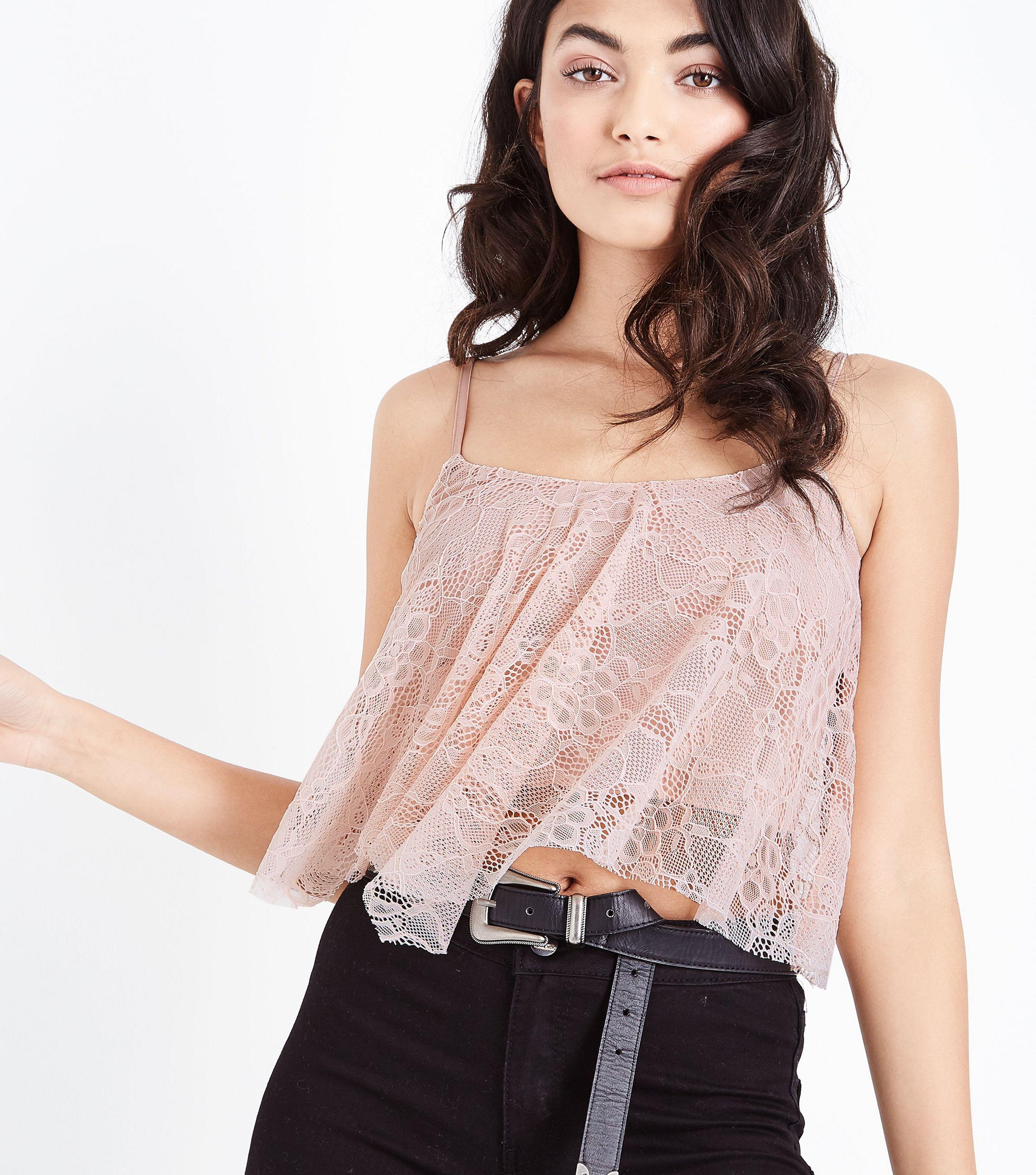 9dfdf0b2273fbb New Look Pale Pink Lace Hanky Hem Crop Top in Pink - Lyst