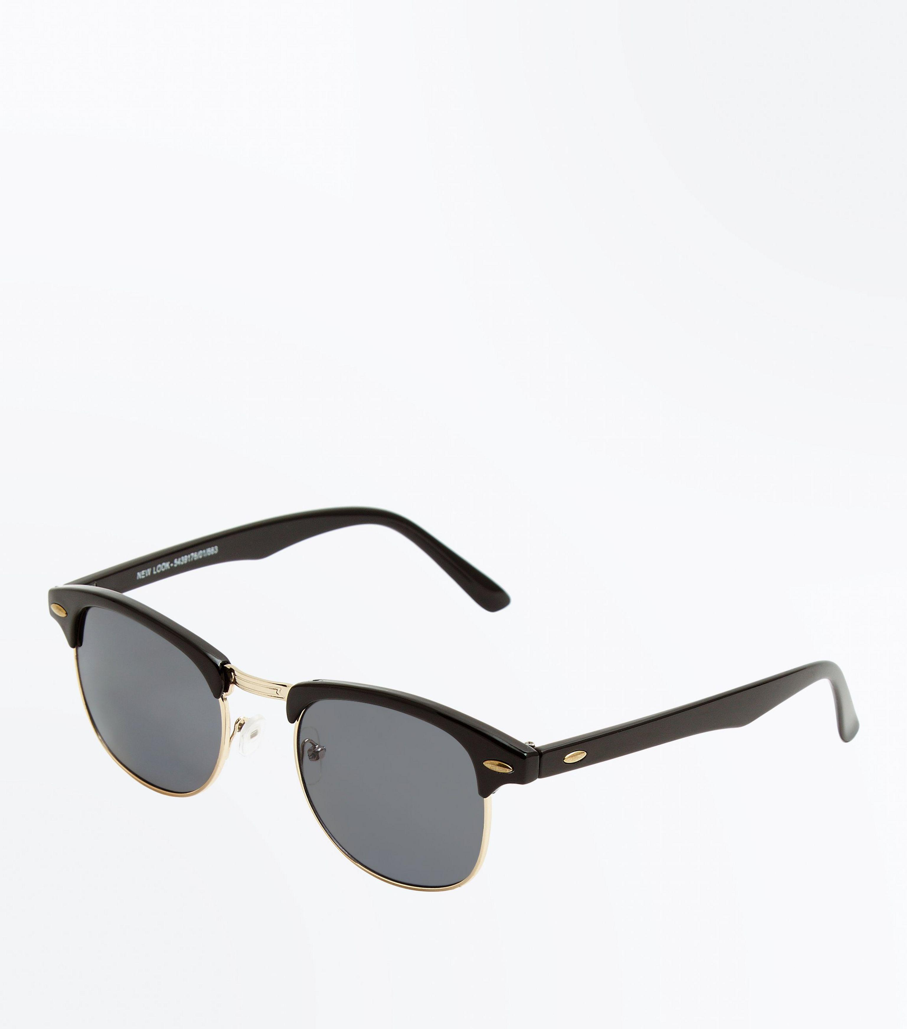 9237a9ce50 New Look Black Oval Detail Sunglasses in Black - Lyst