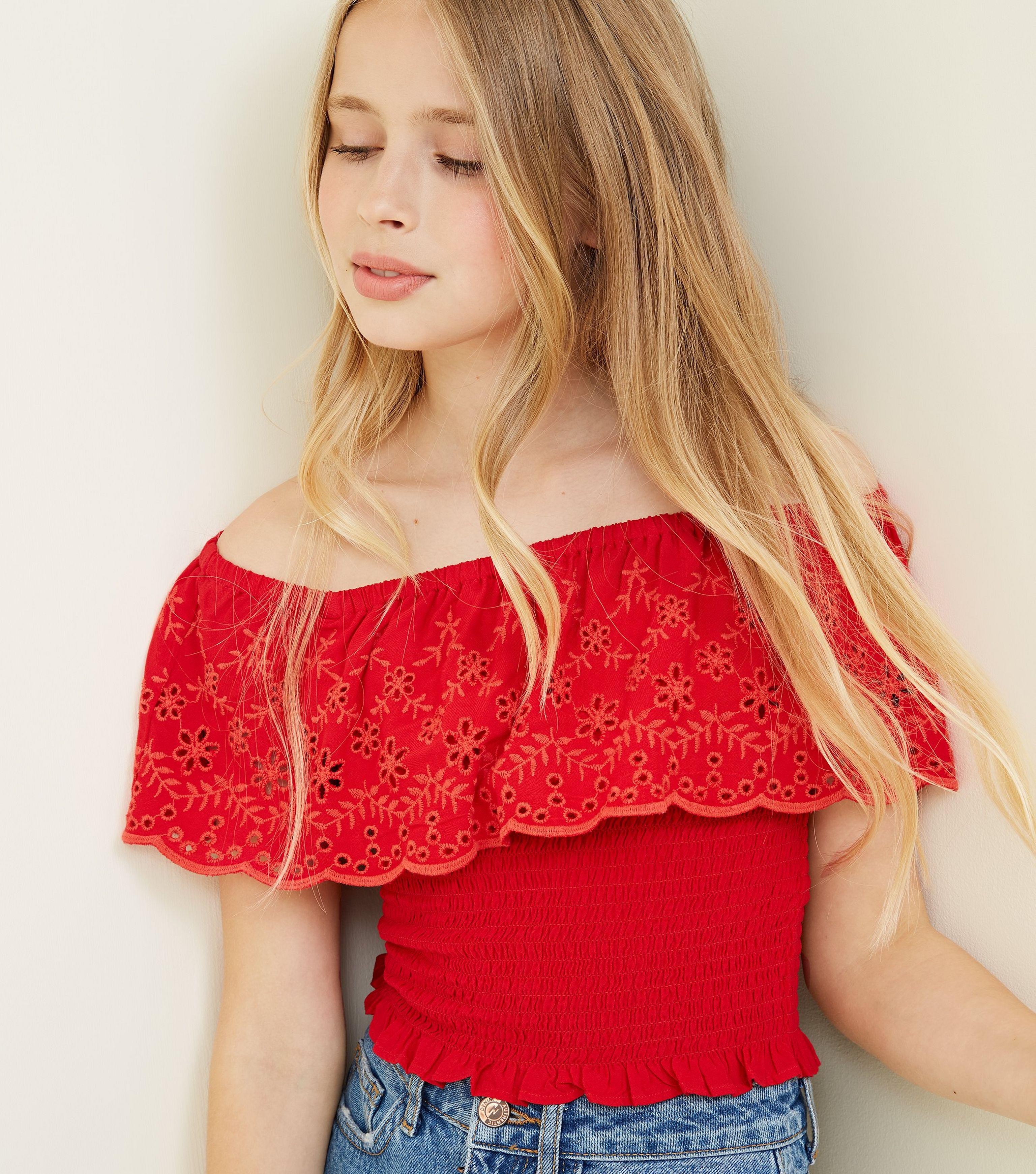 11a7e620df62e5 New Look Girls Red Floral Cut Out Shirred Bardot Top in Red - Lyst