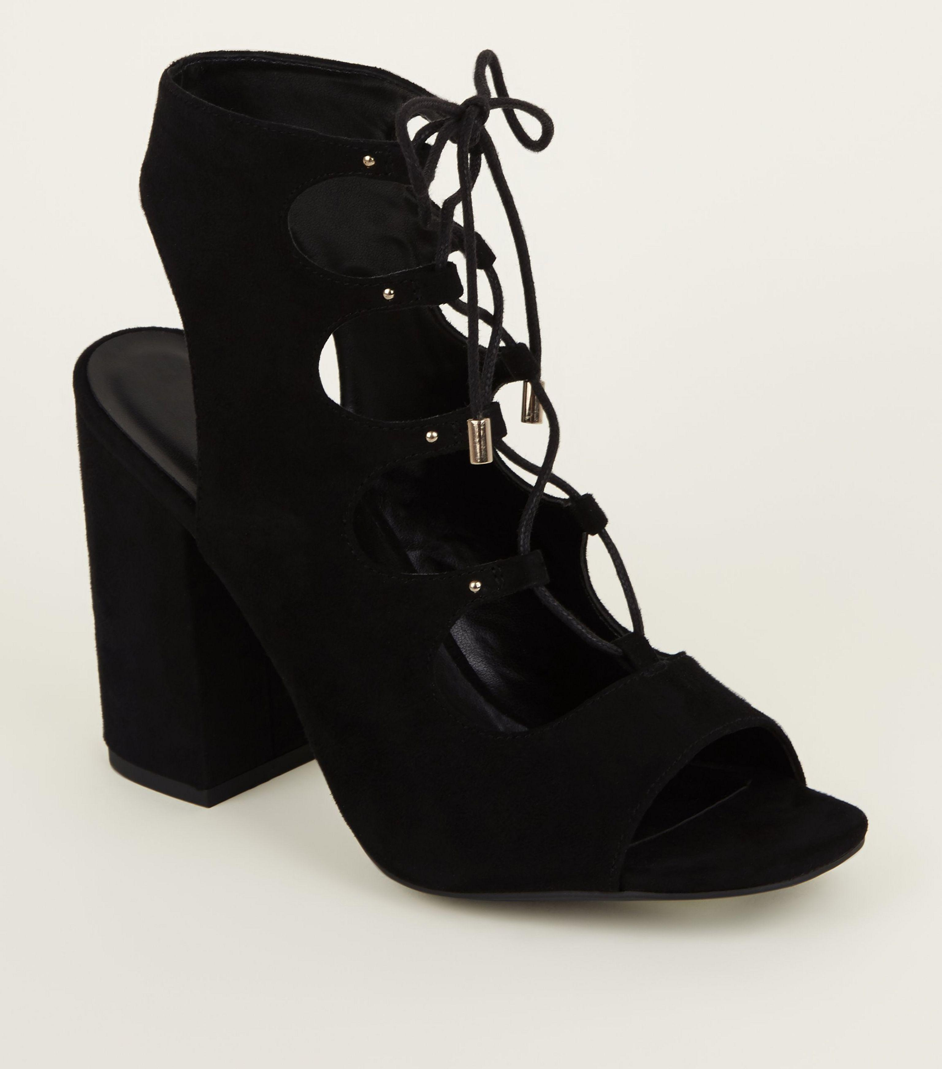 700950ec92dc6 New Look Black Suedette Peep Toe Ghillie Lace Up Sandals in Black - Lyst