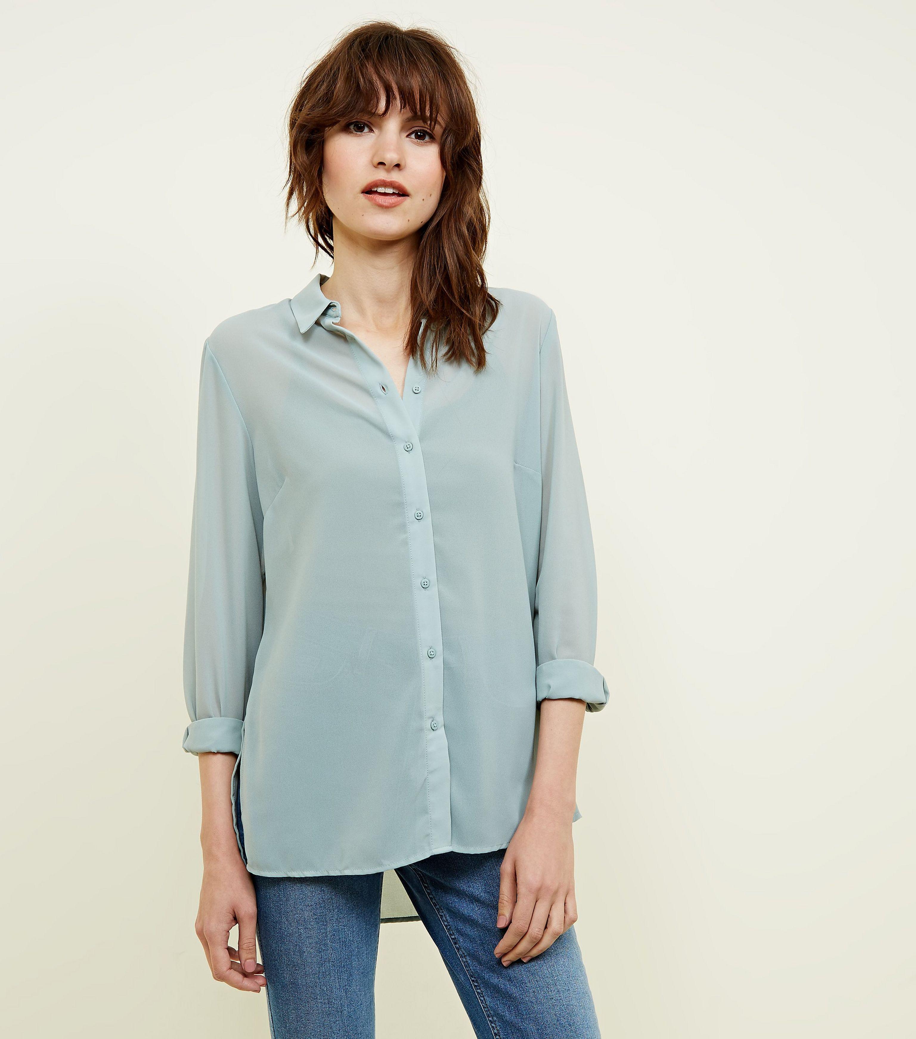 a9fd0d16fae New Look Light Green Chiffon Long Sleeve Shirt in Green - Lyst