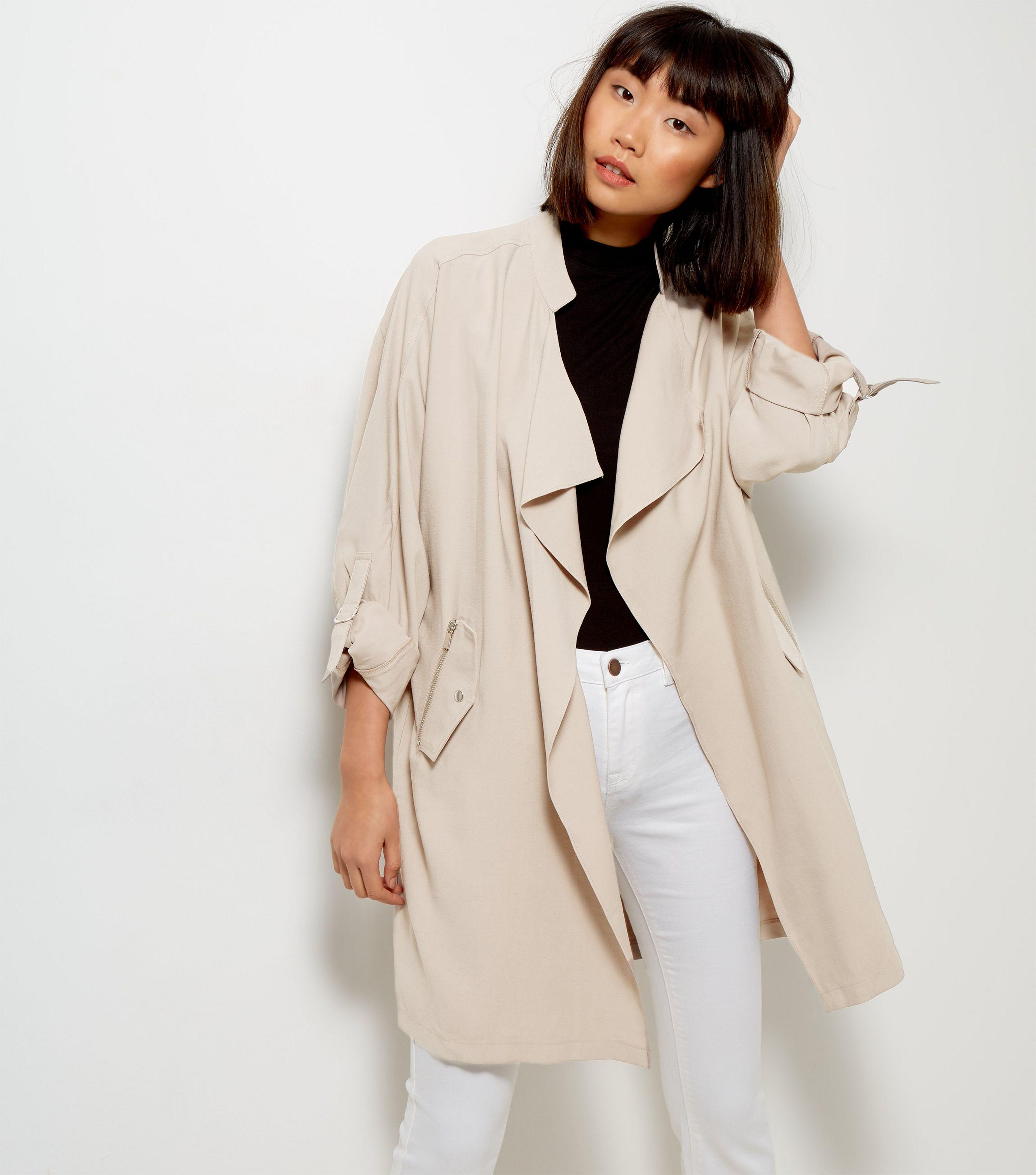 New Look Stone Waterfall Duster Jacket In Natural Lyst