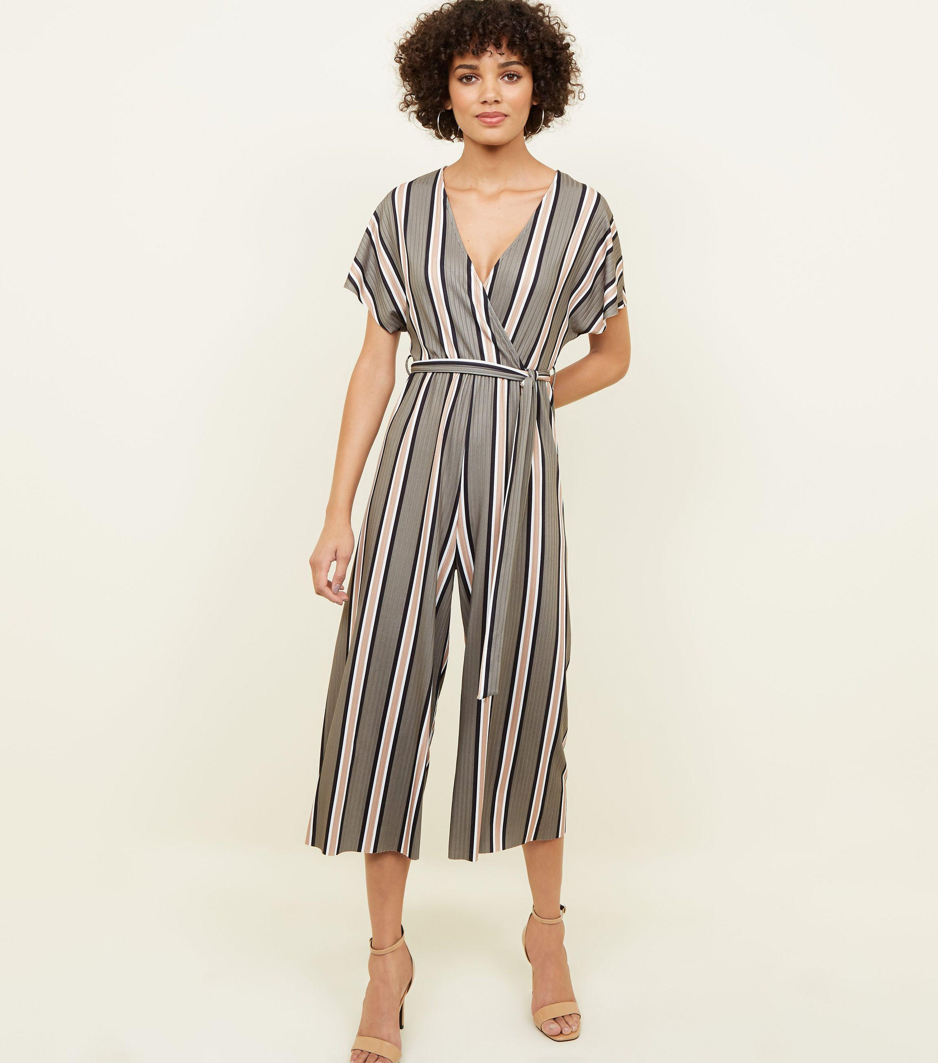 d06245c2d5bb New Look Green Stripe Ribbed Wrap Front Jumpsuit in Green - Save 17 ...