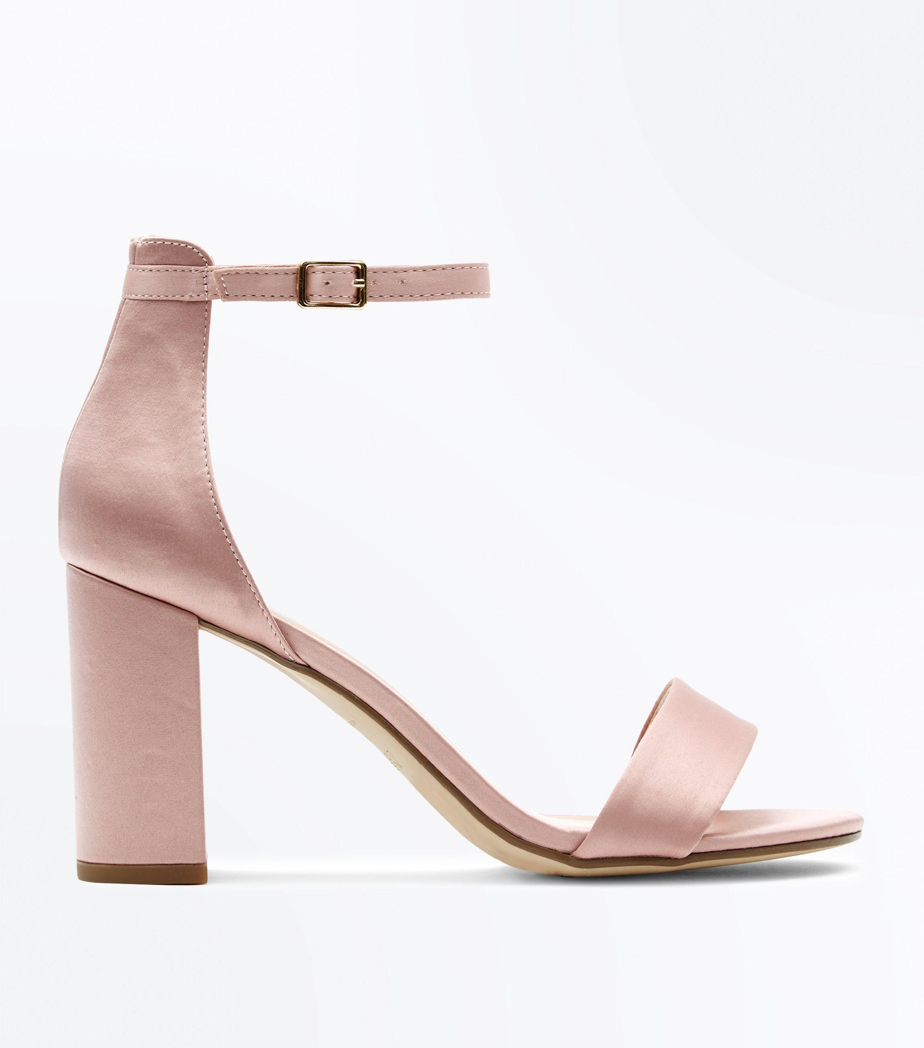 02f49792e44 New Look Wide Fit Nude Satin Ankle Strap Block Heels - Lyst