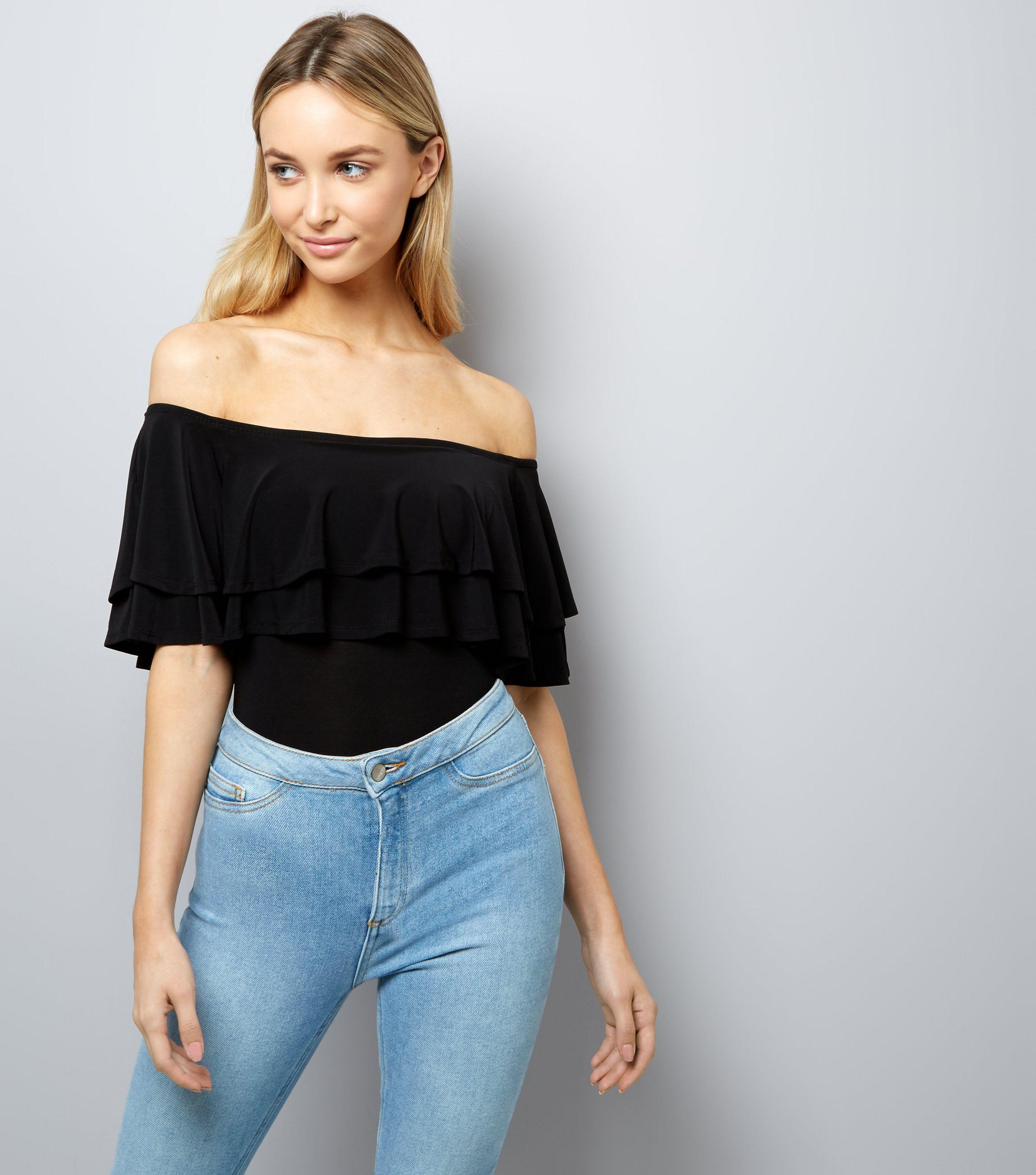 eaaa3df1485 New Look Black Layered Frill Trim Bardot Neck Bodysuit in Black - Lyst