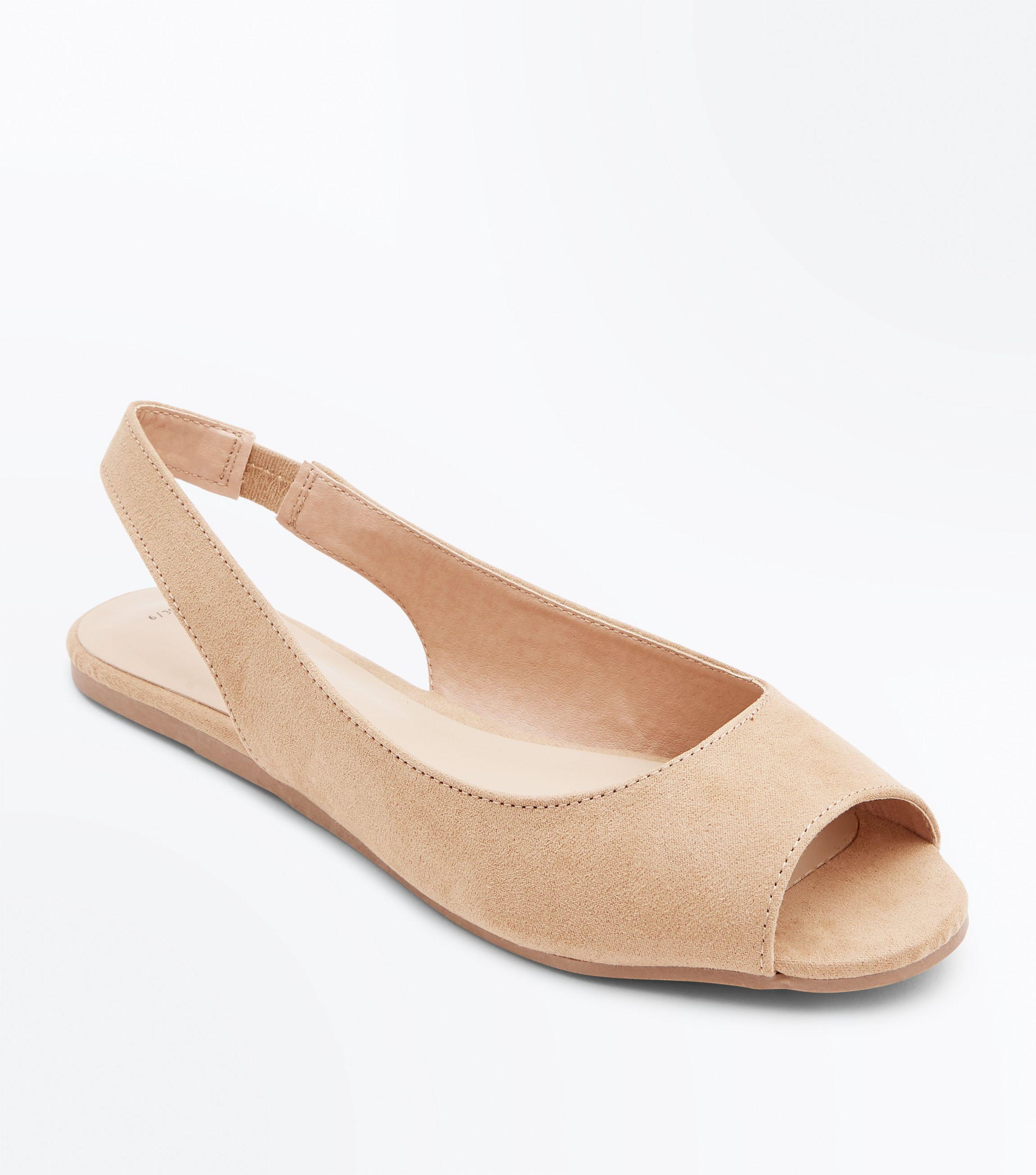 New Look Tan Suedette Peep Toe Flat Slingbacks - Lyst