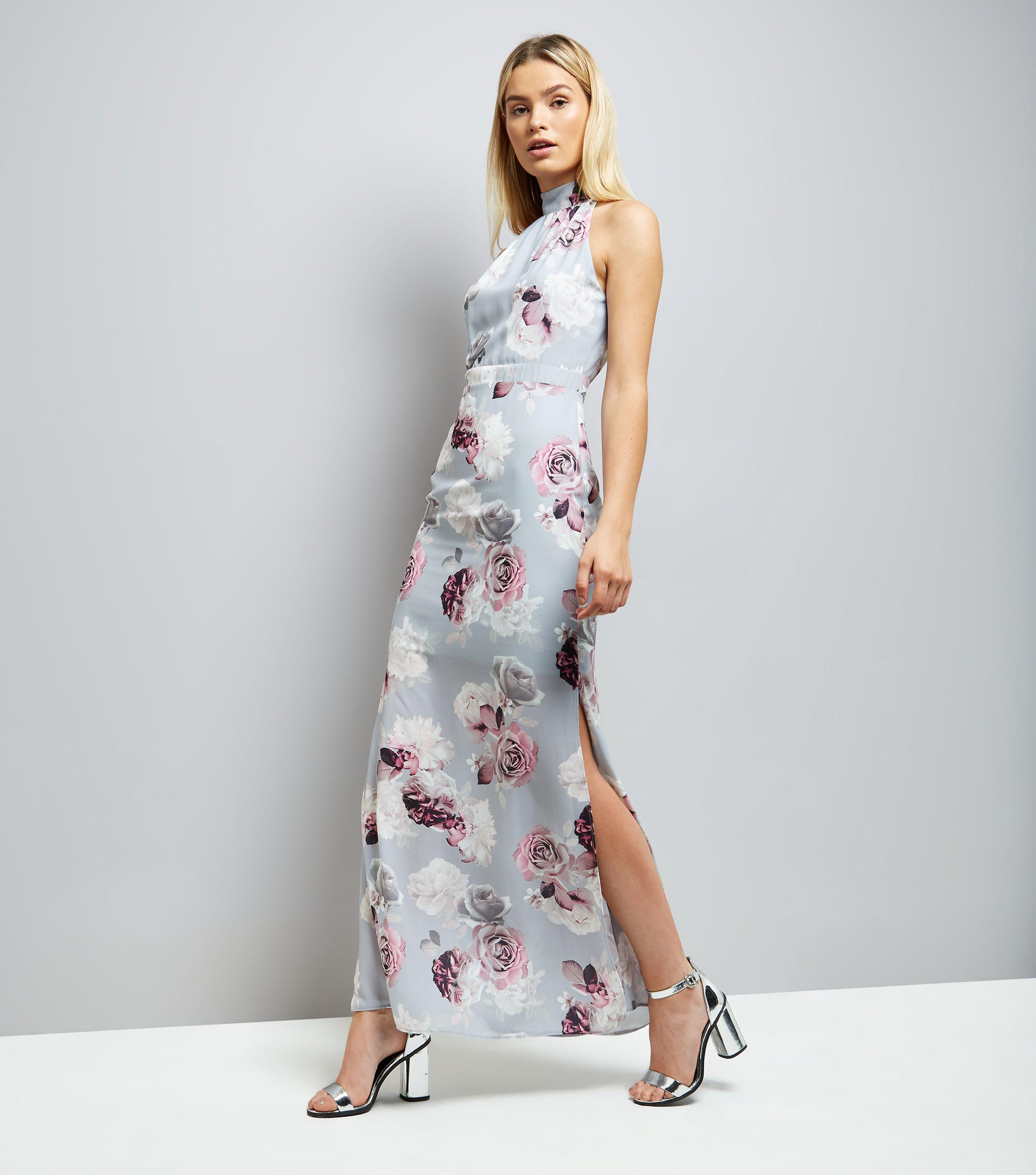 Gray Floral Maxi Dress