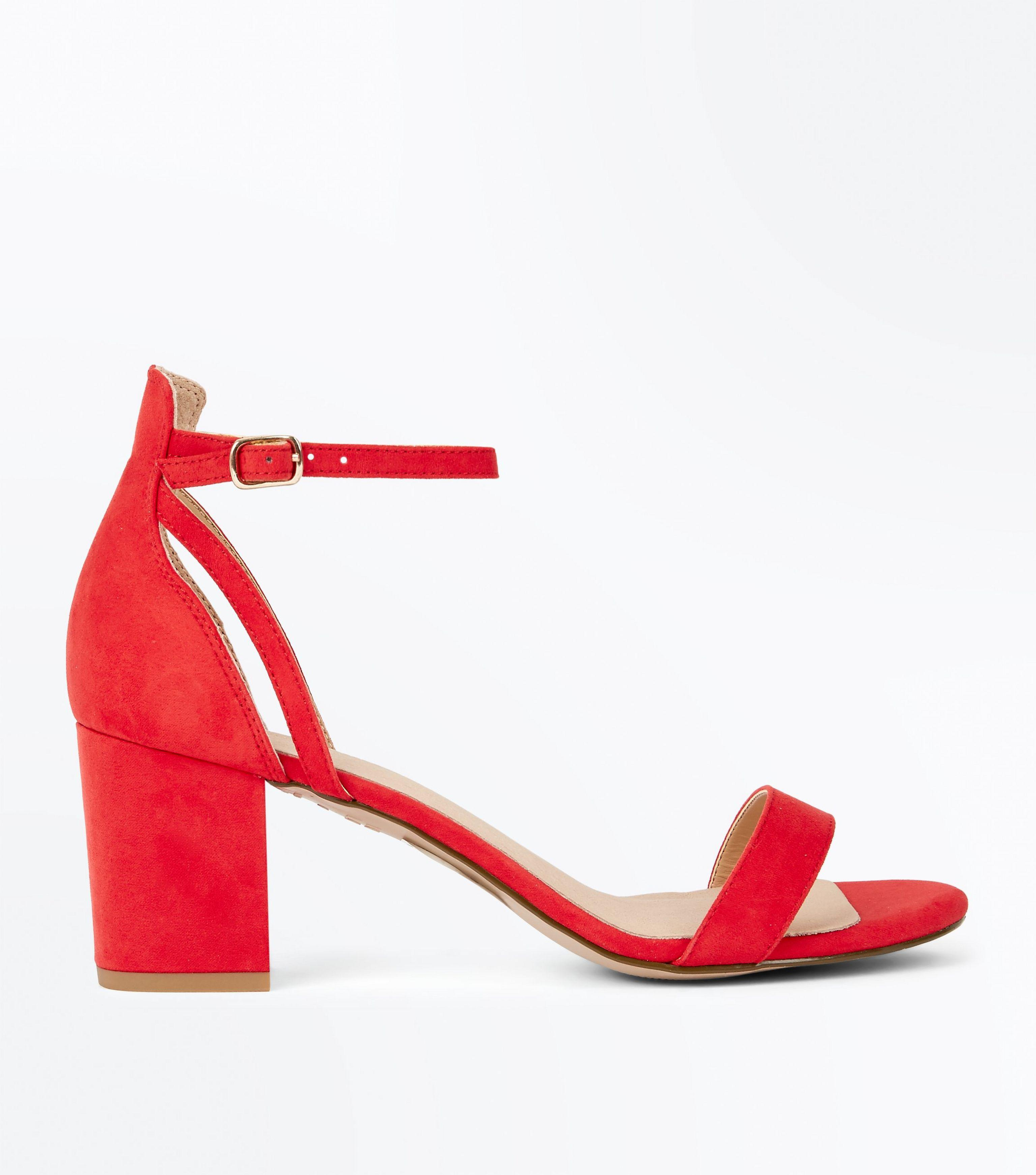 984171a568cc New Look Red Comfort Flex Suedette Block Heel Sandals in Red - Lyst