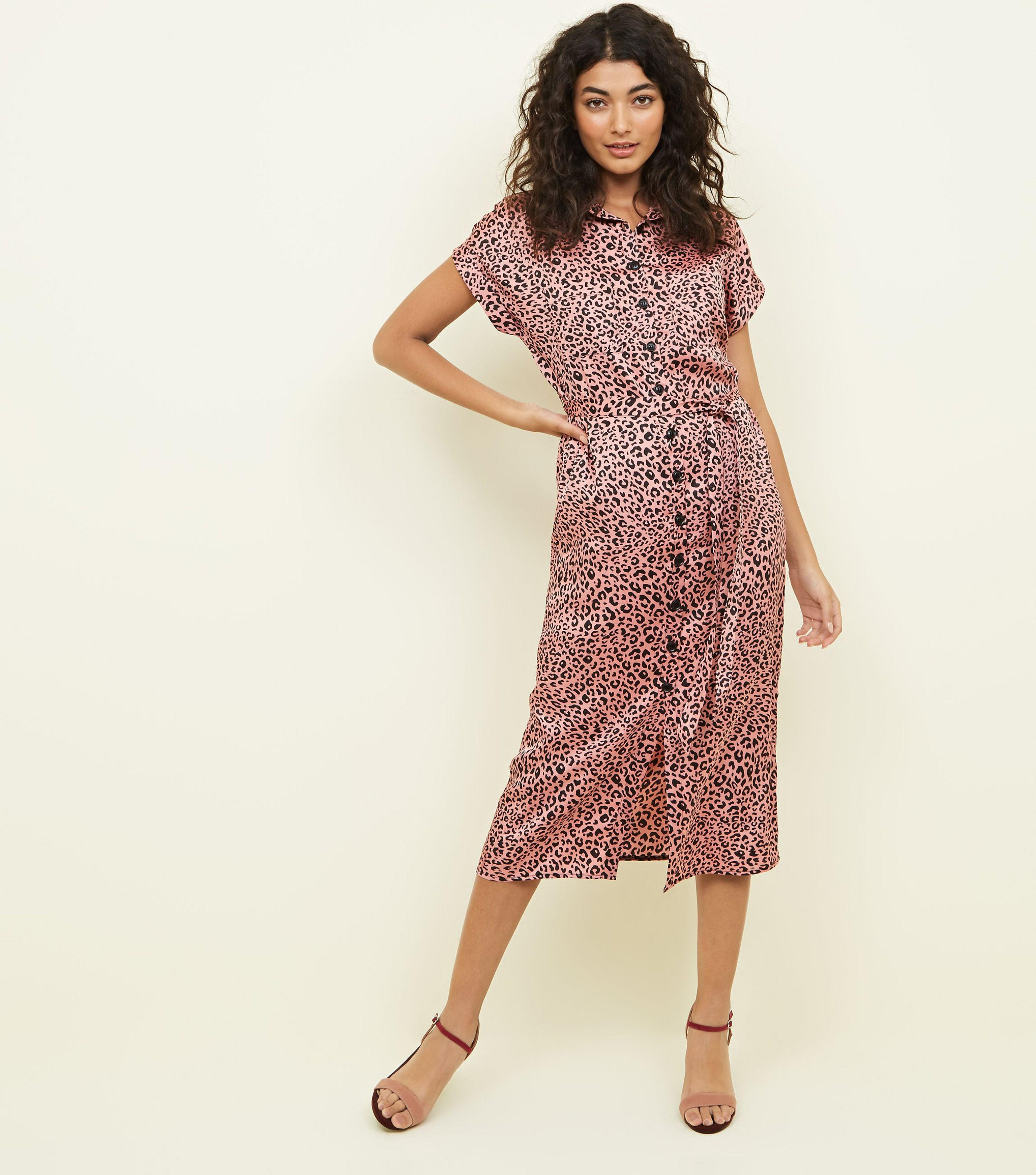 a44e462d57 New Look Pink Leopard Print Satin Midi Shirt Dress in Pink - Lyst