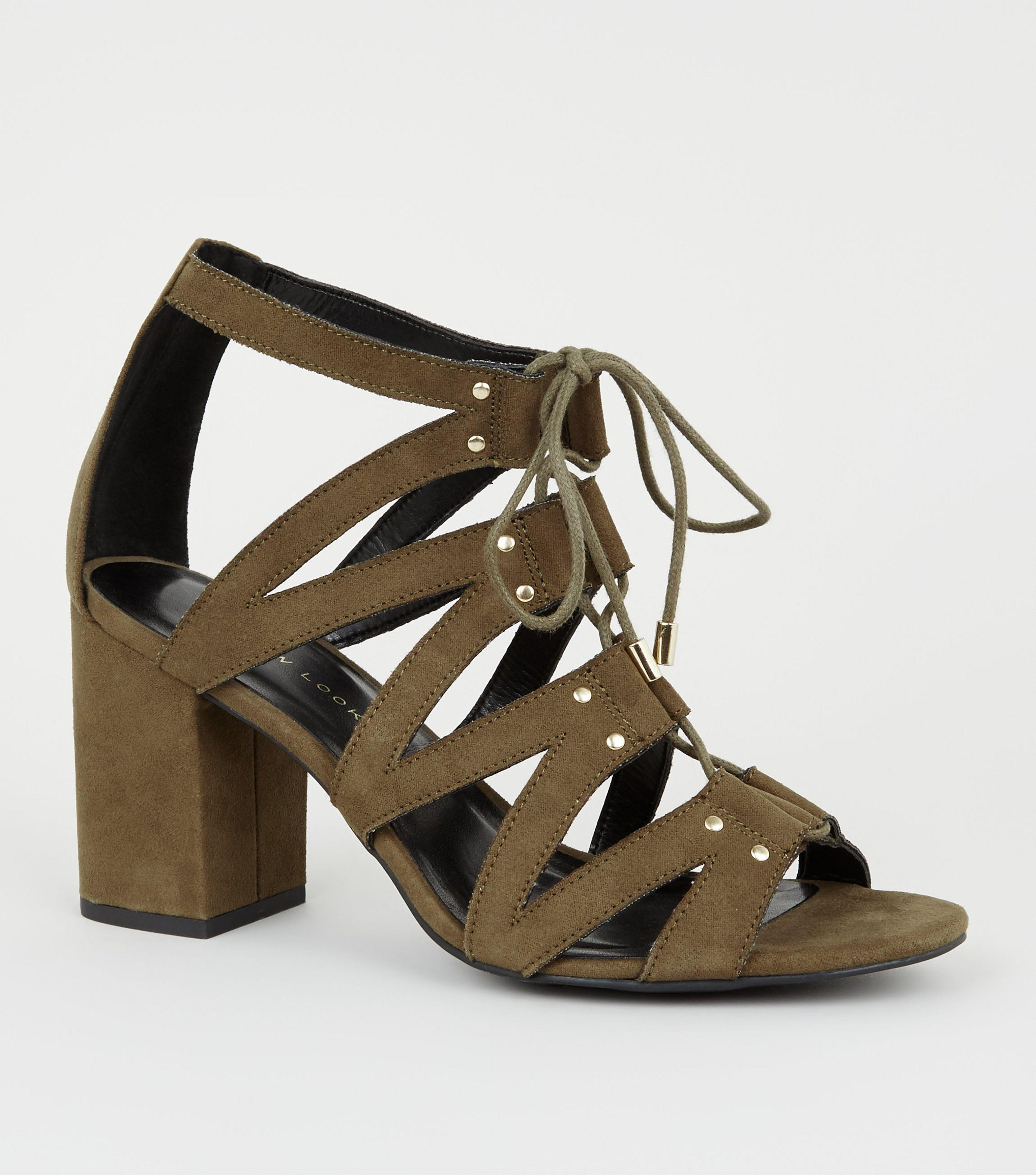 7bbfed766e9b New Look. Women s Wide Fit Khaki Lace Up Ghillie Block Heels