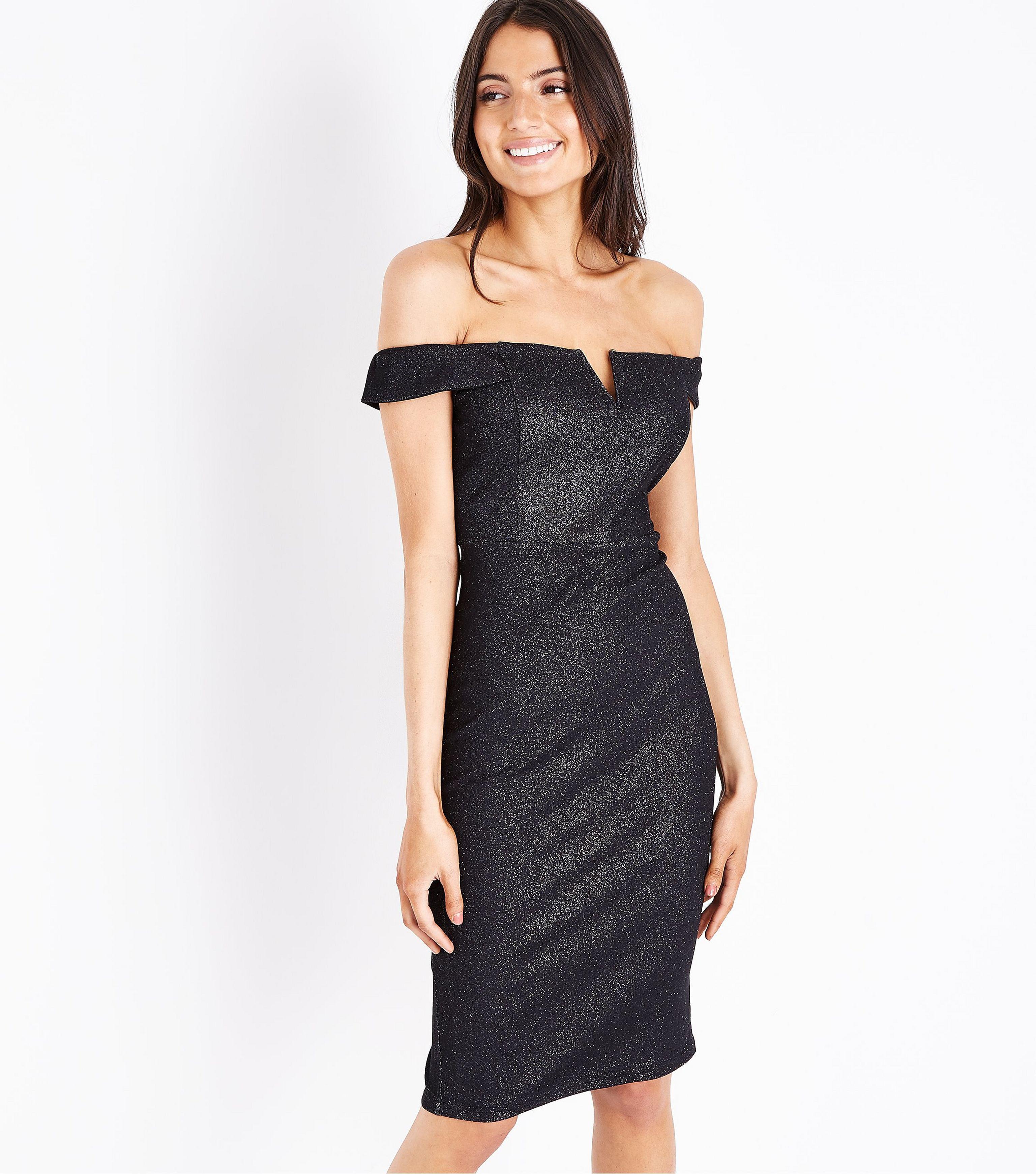 3cb885283c190 AX Paris - Black Glitter Bardot Neck Midi Dress - Lyst. View fullscreen