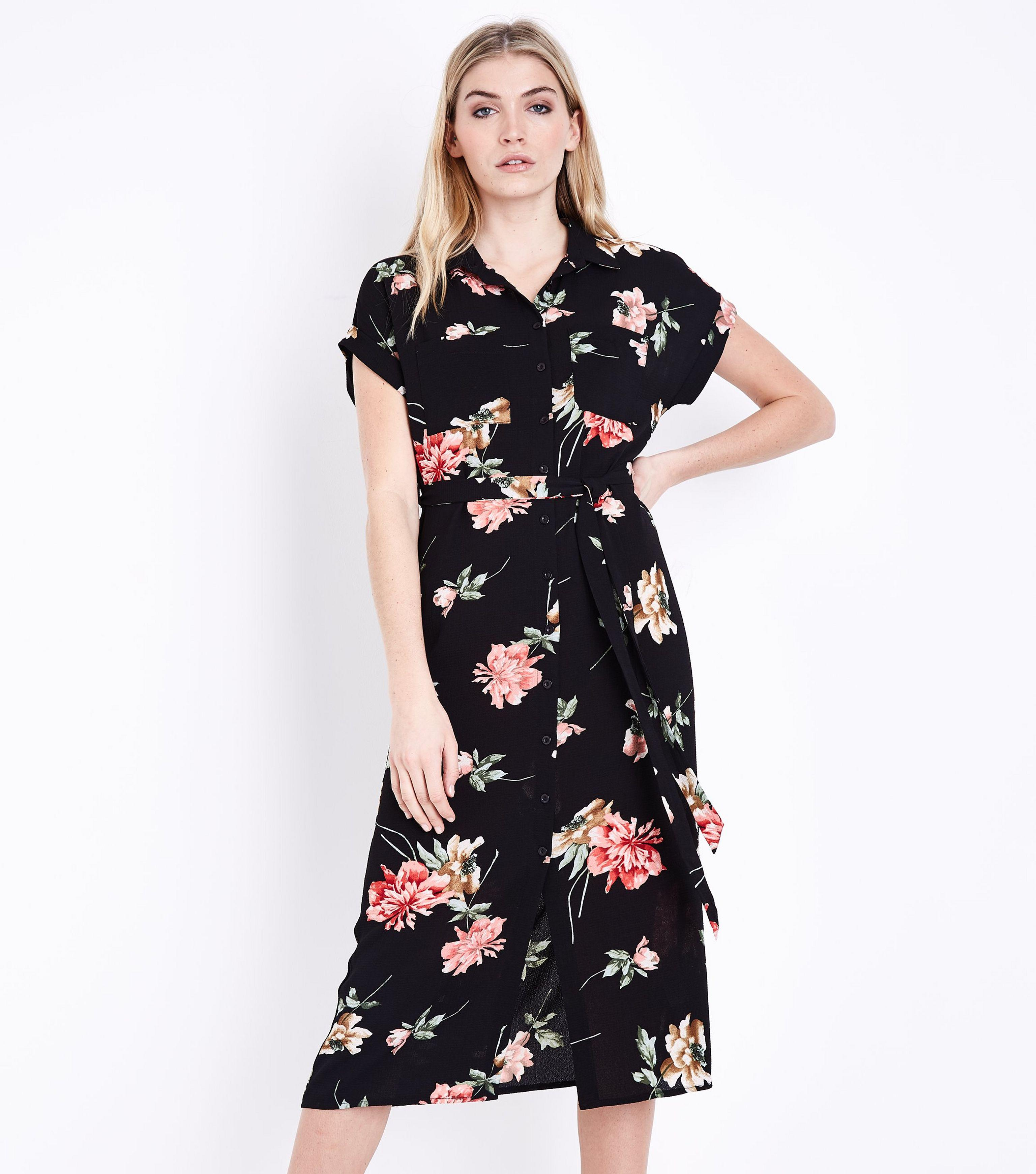 dff7e54255 New Look Black Floral Short Sleeve Midi Shirt Dress in Black - Lyst