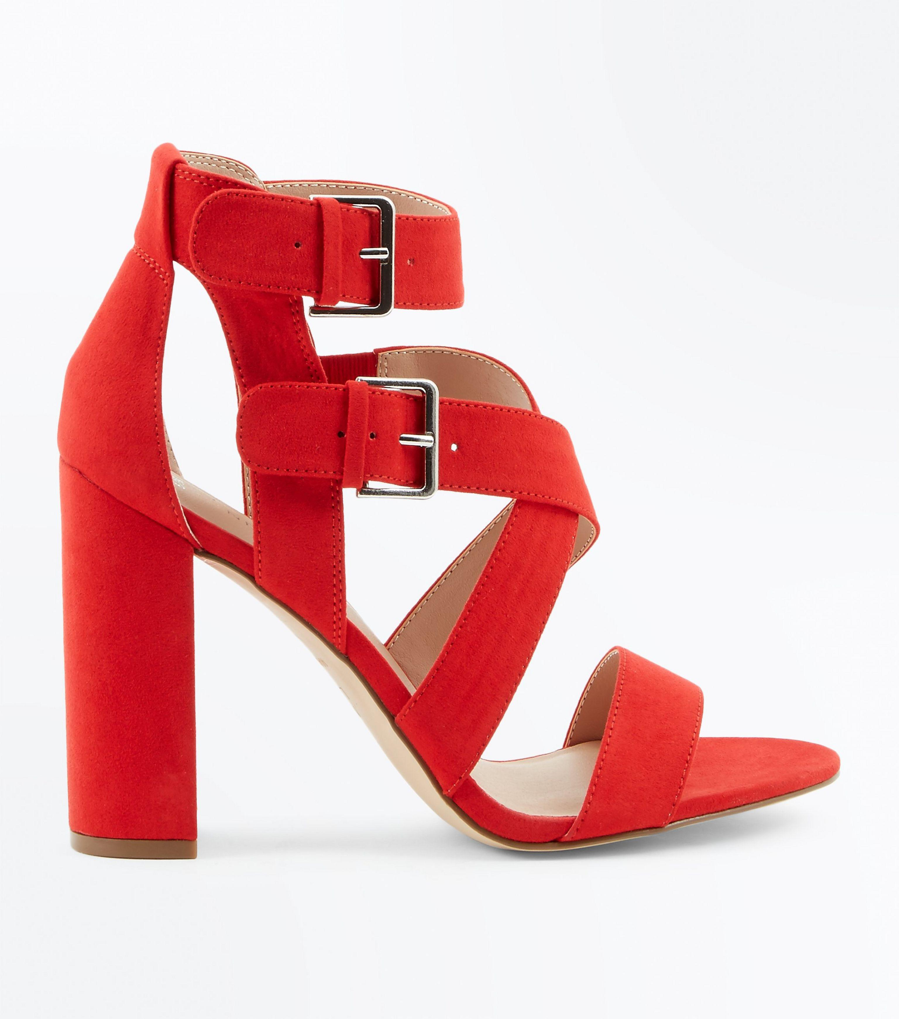 89f5e410a82 New Look Red Suedette Strappy Double Buckle Block Heels in Red - Lyst