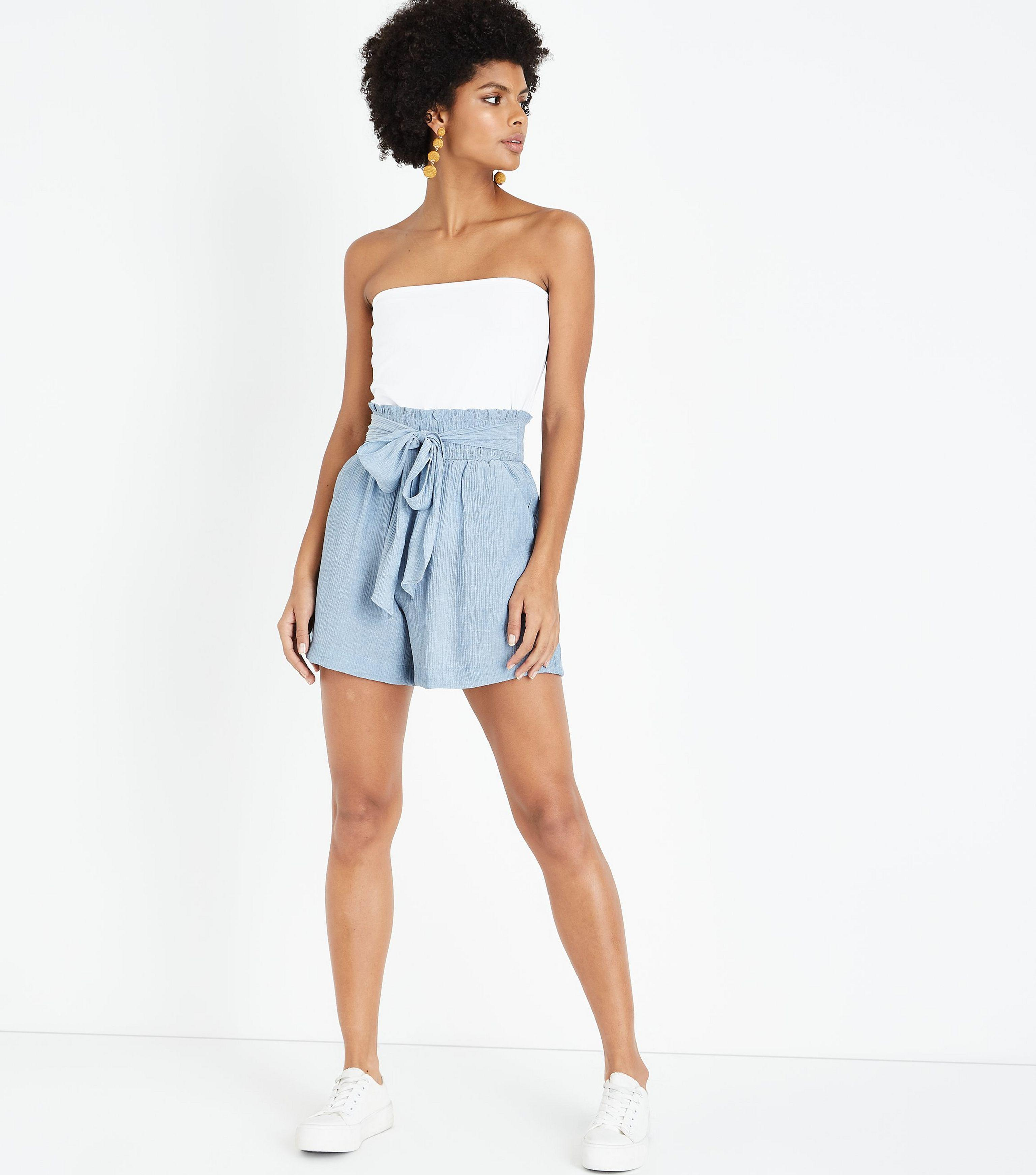 largest selection of yet not vulgar wholesale price New Look Synthetic Pale Blue Crepe Tie Waist Shorts - Lyst