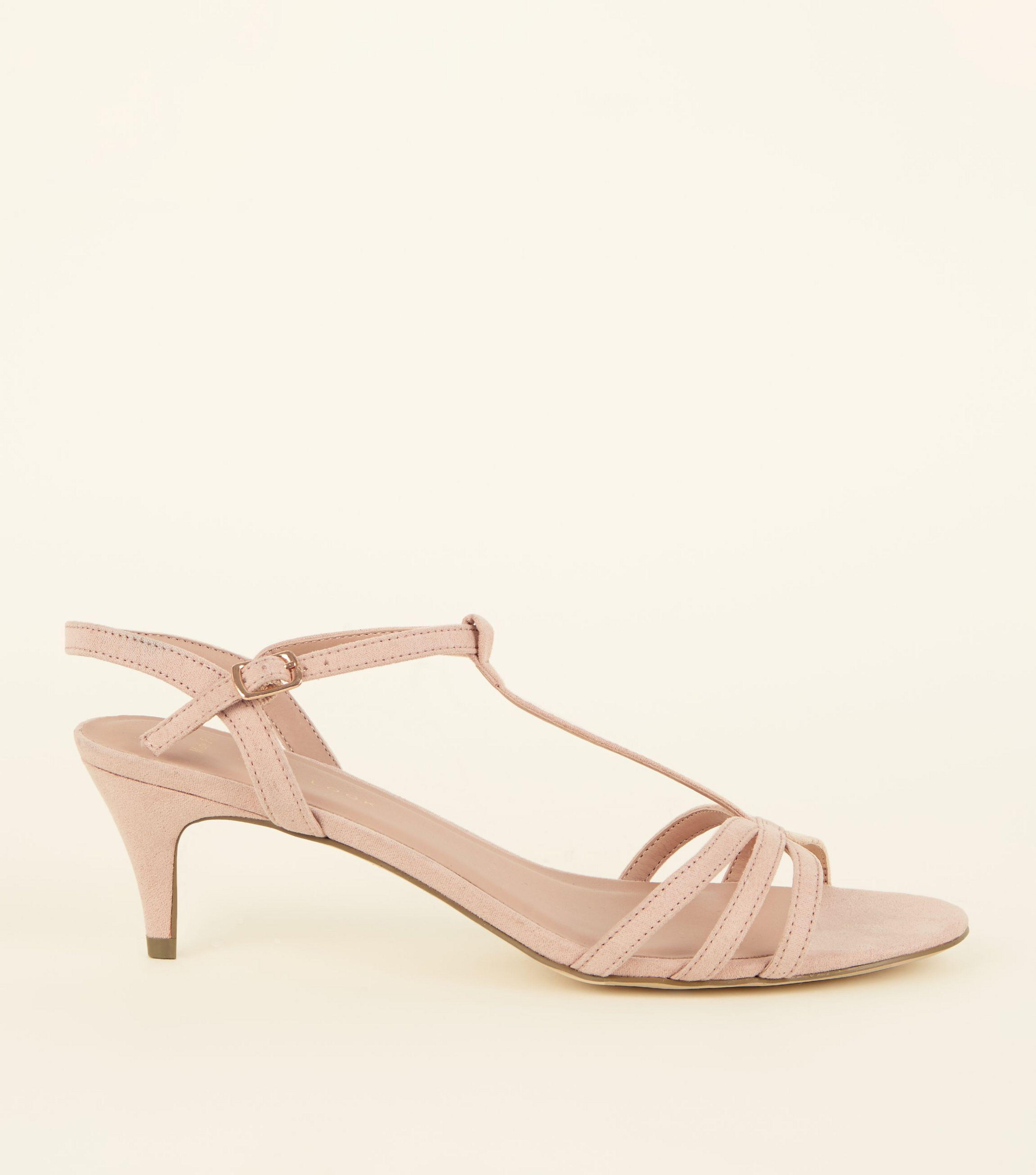 7a49e1e6002 New Look Wide Fit Nude Comfort Flex Suedette Strappy Kitten Heels in ...