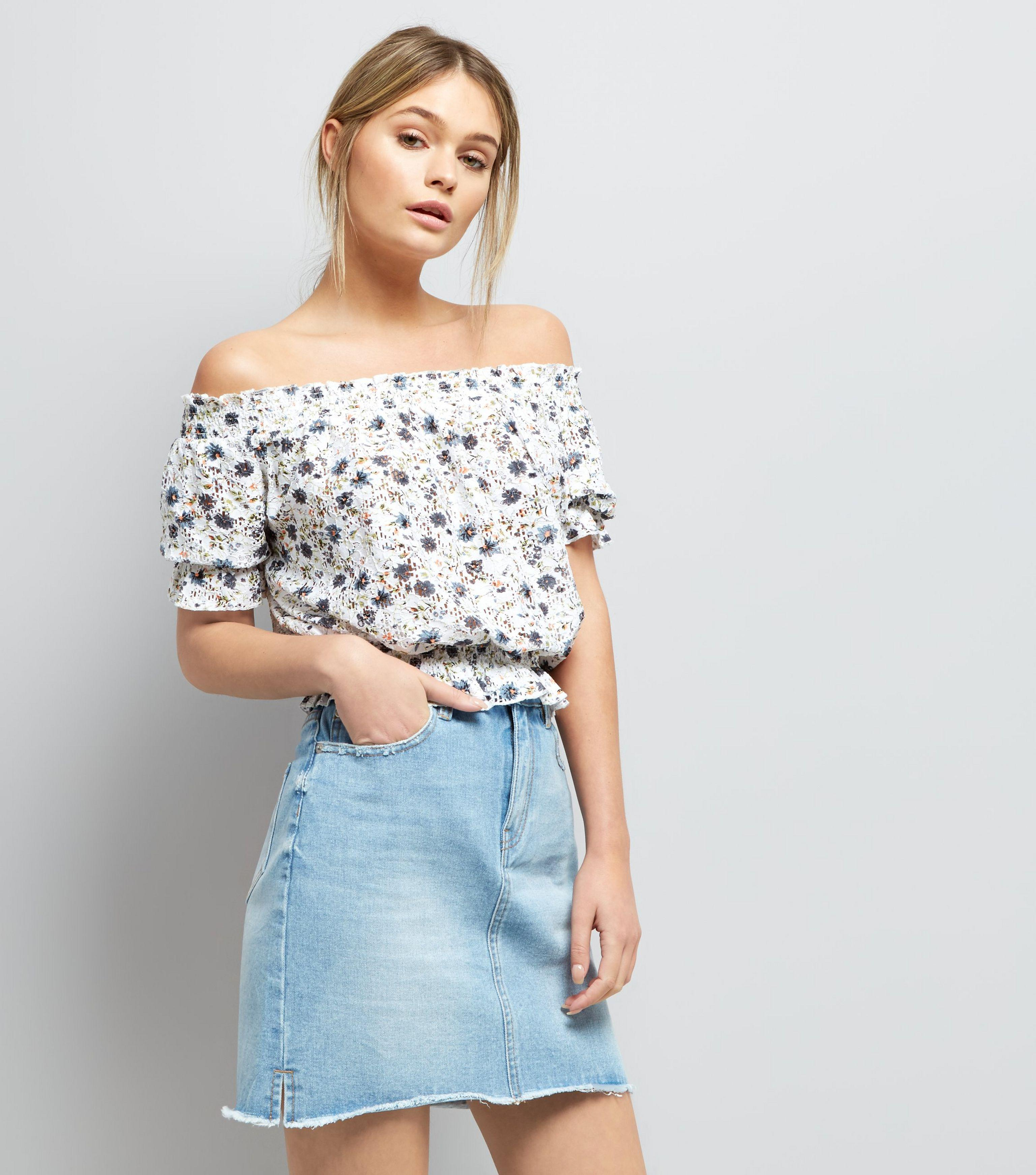 7f82322ace76ea New Look Blue Ditsy Floral Print Shirred Bardot Neck Top in Blue - Lyst