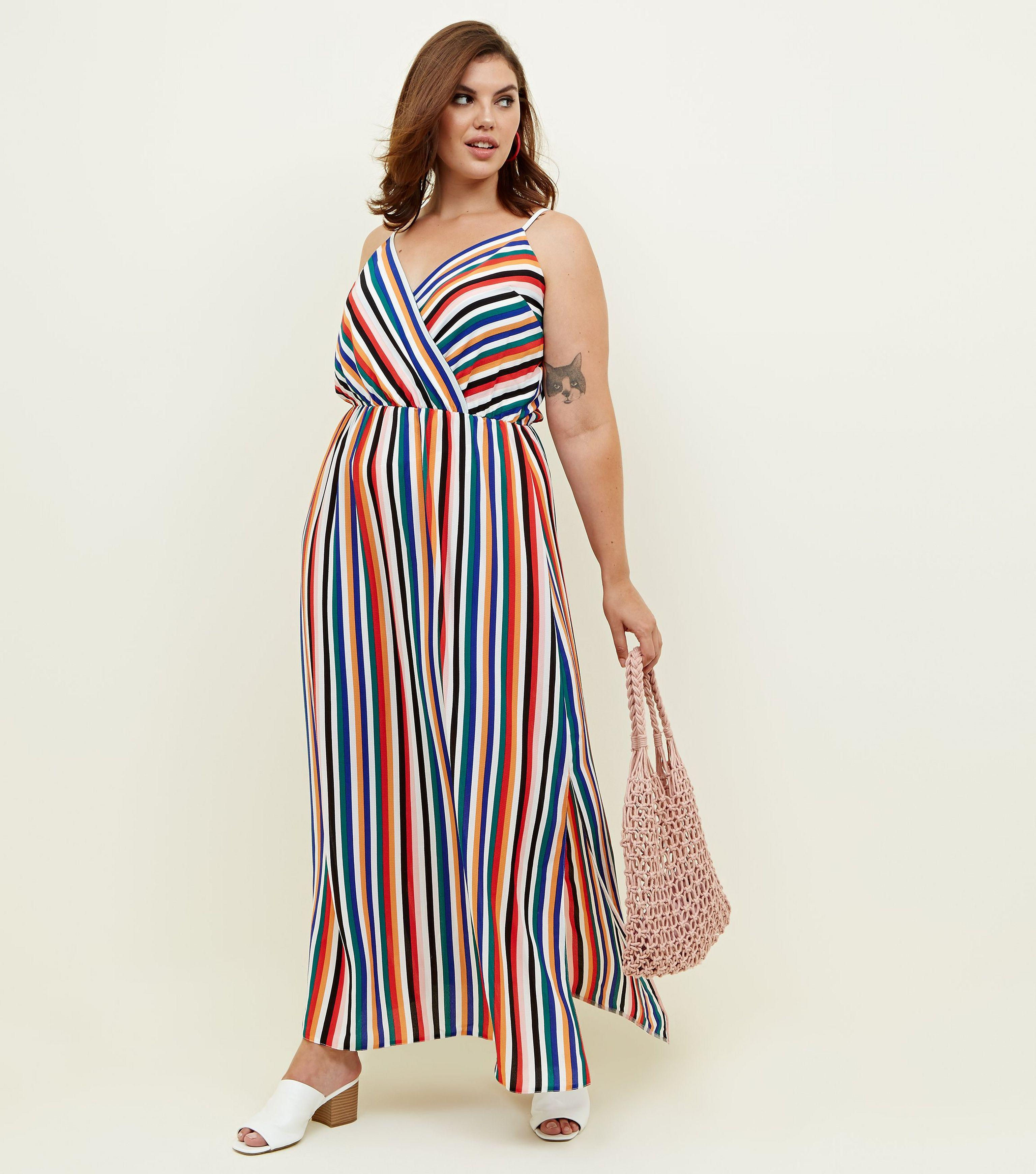 337ae78ce4 New Look Curves Rainbow Stripe Wrap Maxi Dress in Blue - Lyst