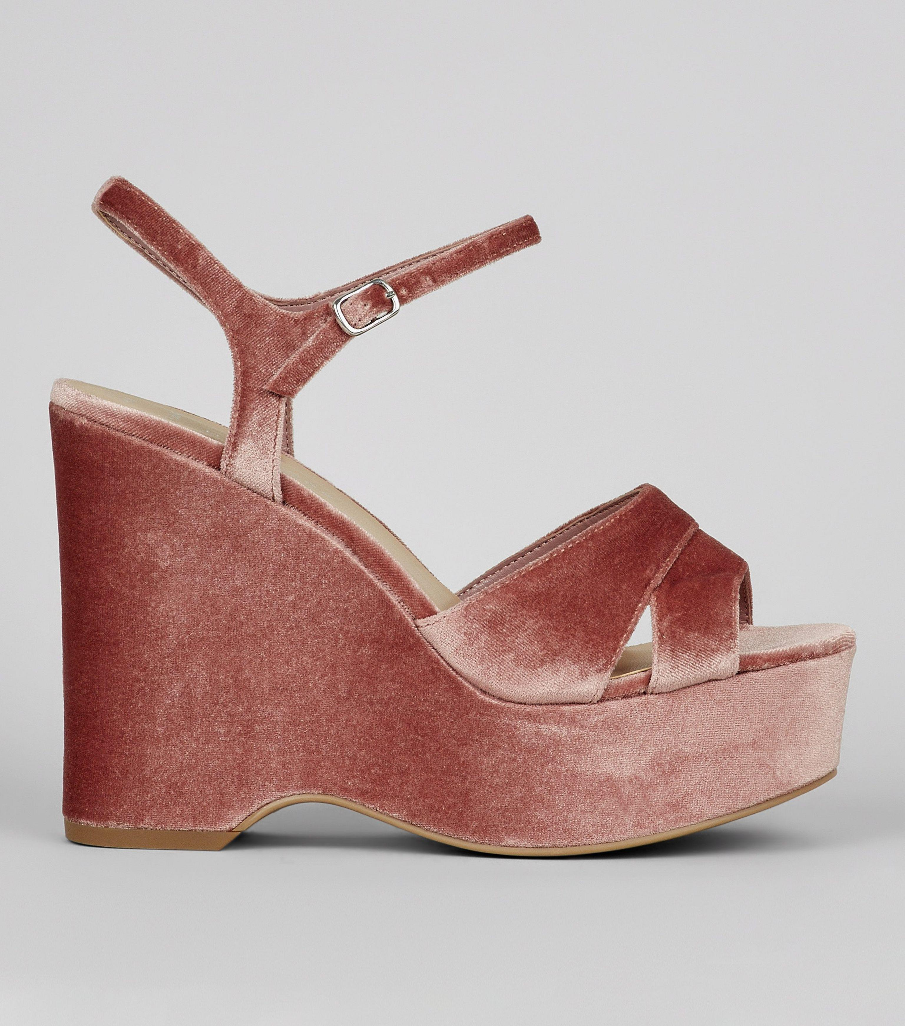e109a836a87c New Look Wide Fit Nude Pink Velvet Platform Wedge Heels - Lyst