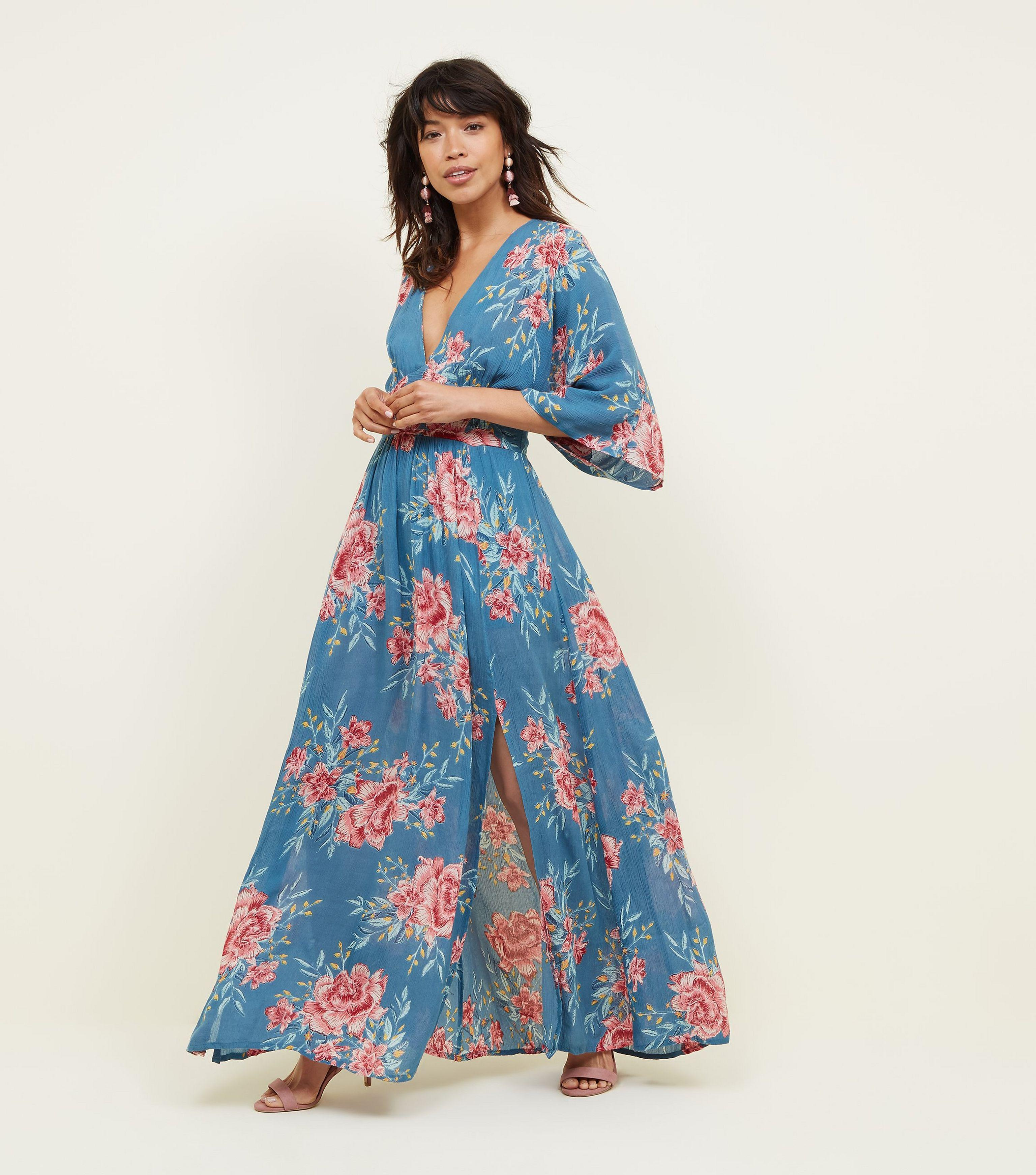 New Look Blue Floral Kimono Sleeve Maxi Dress in Blue - Lyst