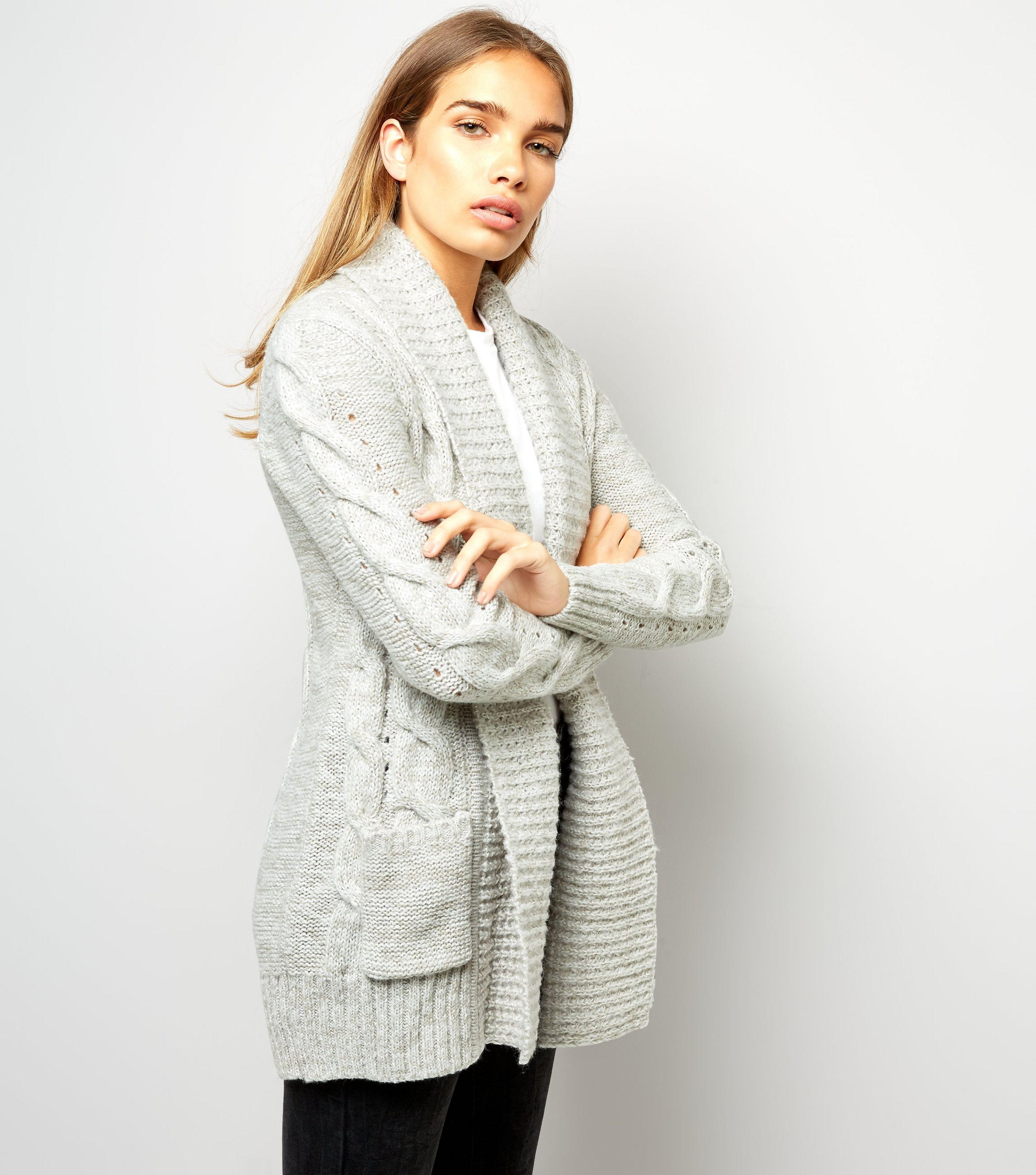 New look Pale Grey Cable Knit Cardigan in Grey | Lyst