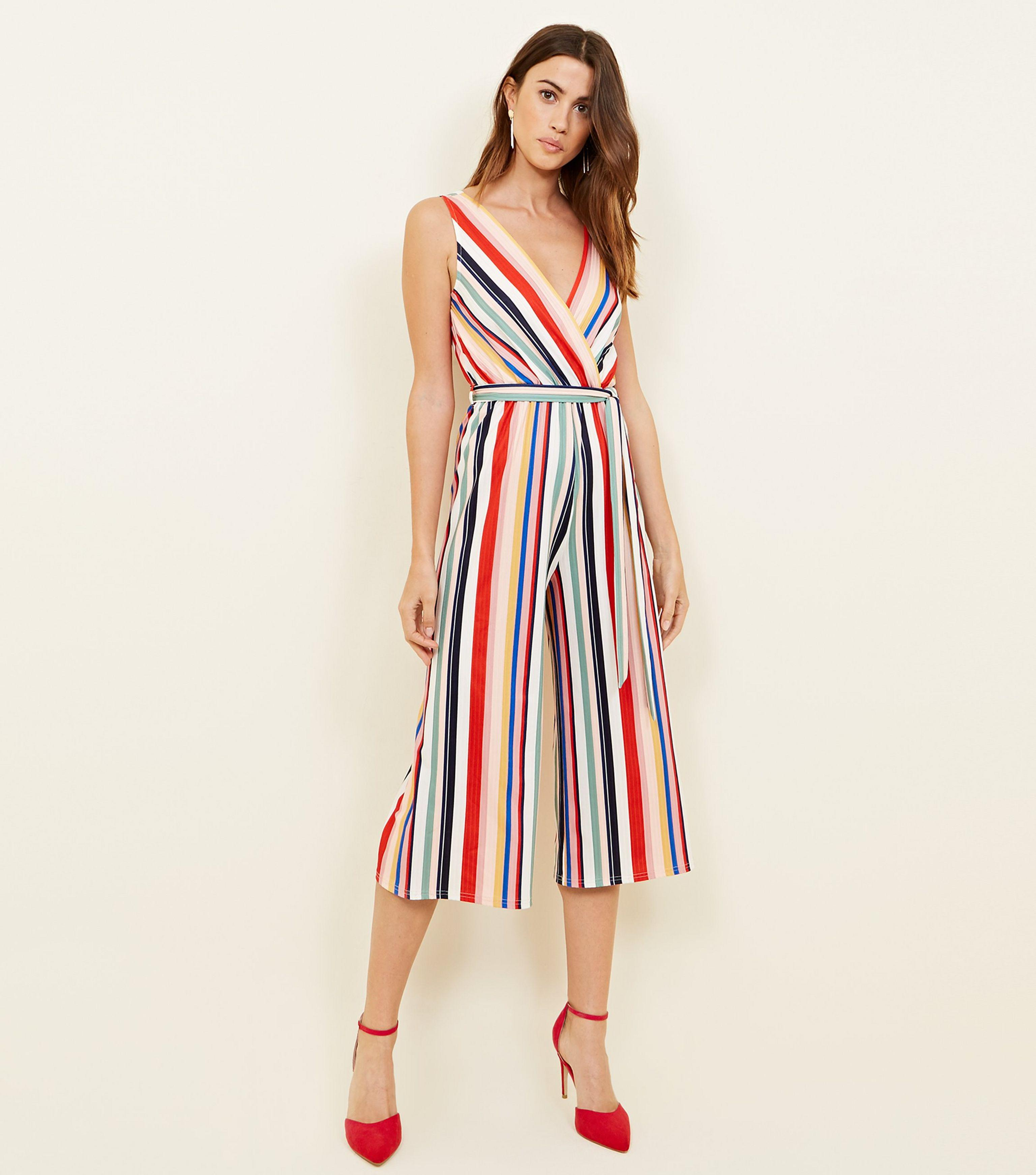 5050170a8766 New Look Rainbow Stripe Culotte Wrap Jumpsuit in Red - Lyst