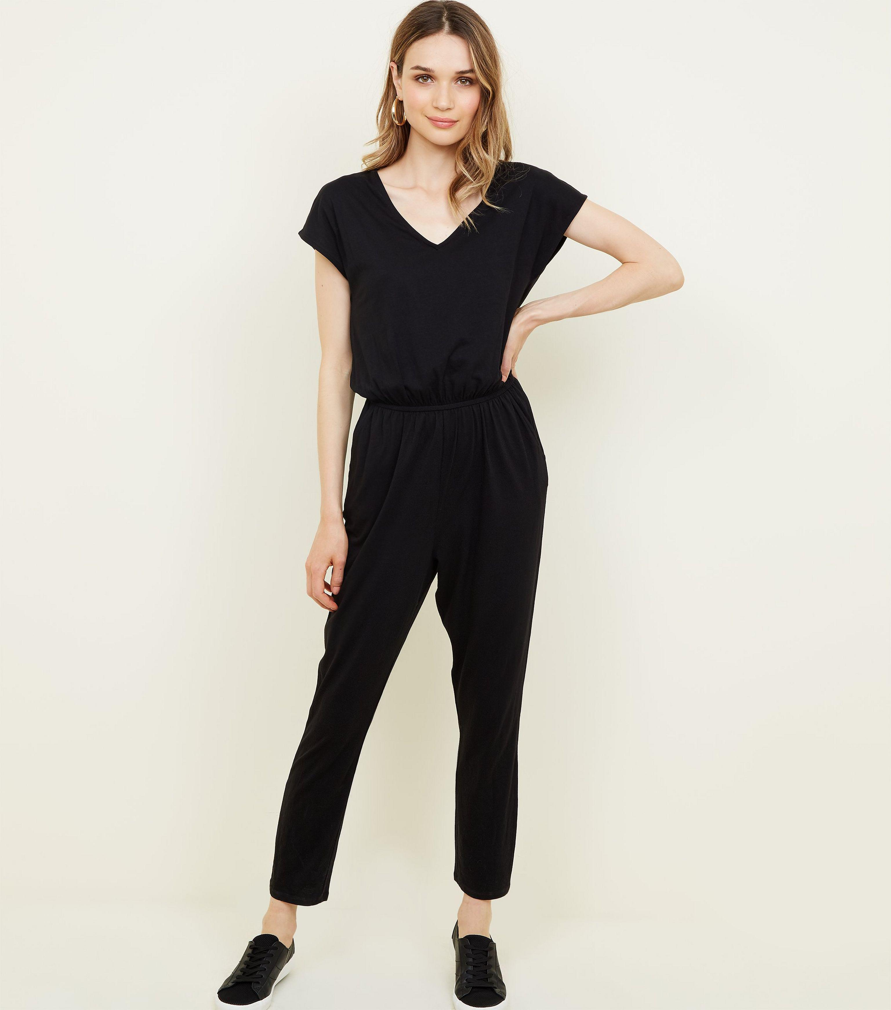 70bc95a4558 New Look Black Cap Sleeve Jersey Jumpsuit in Black - Lyst