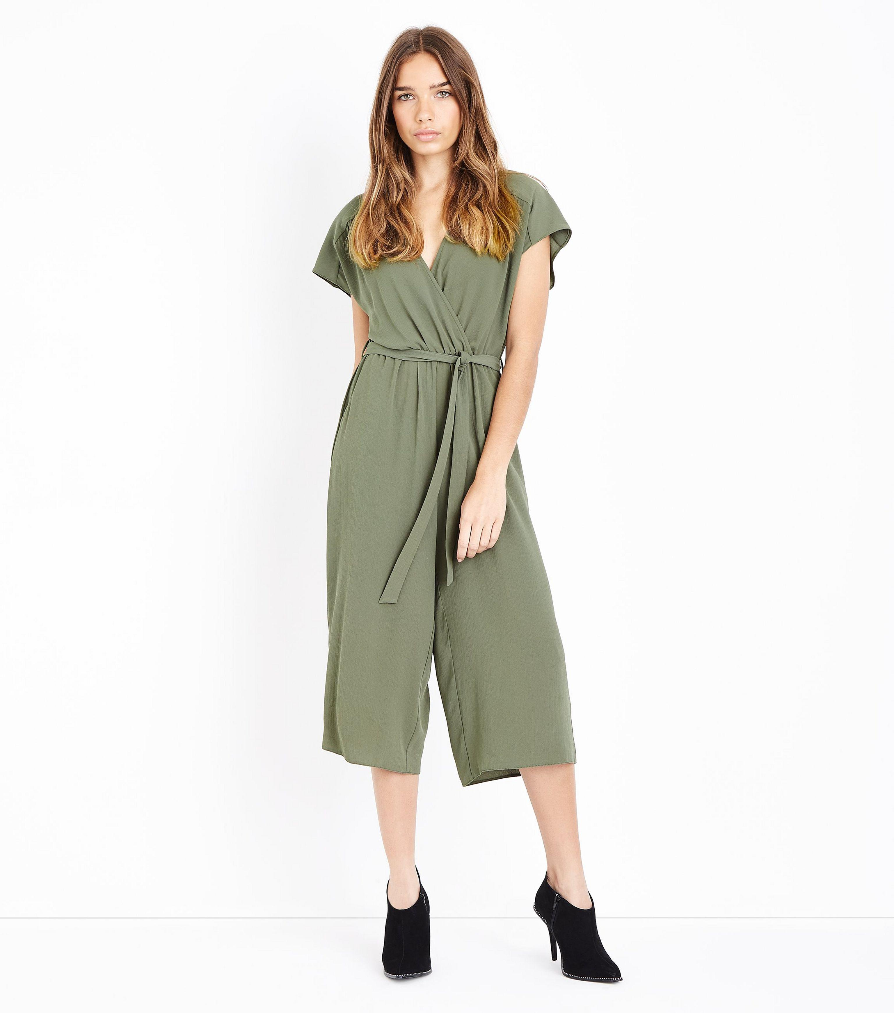 88cfce497ab New Look Khaki Wrap Front Culotte Jumpsuit in Green - Lyst