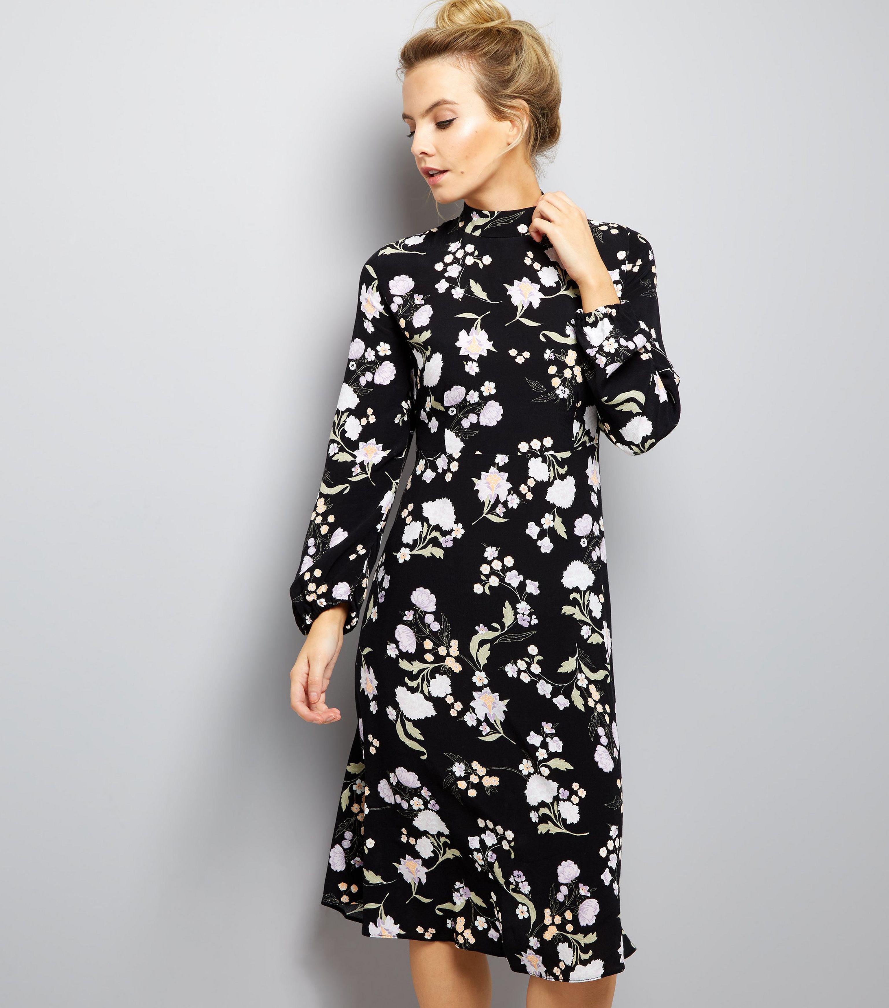 aef66740b2 New Look Petite Black Floral Funnel Neck Midi Dress in Black - Lyst