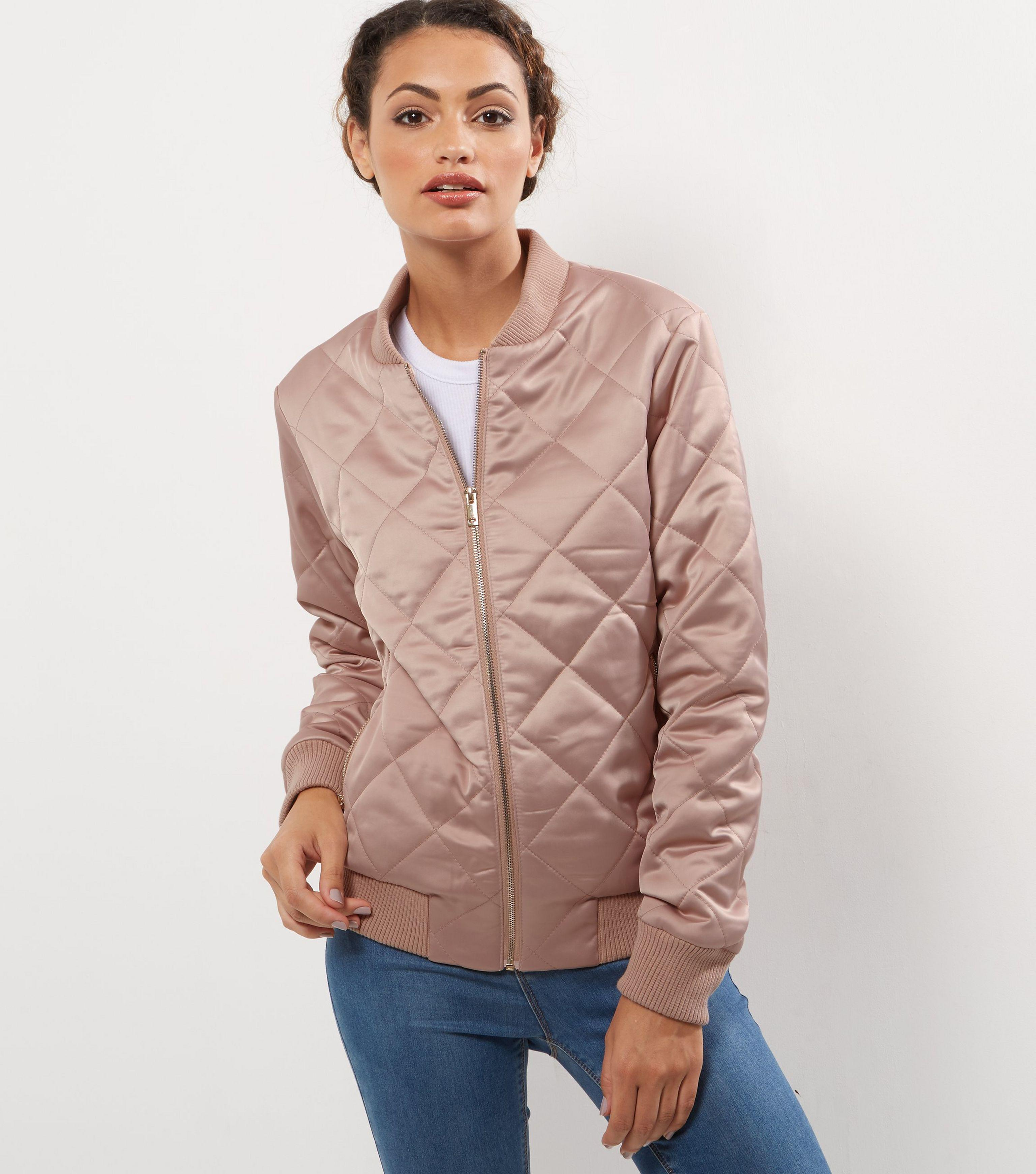 147fdd64500 New Look Tall Shell Pink Diamond Quilted Bomber Jacket in Pink - Lyst