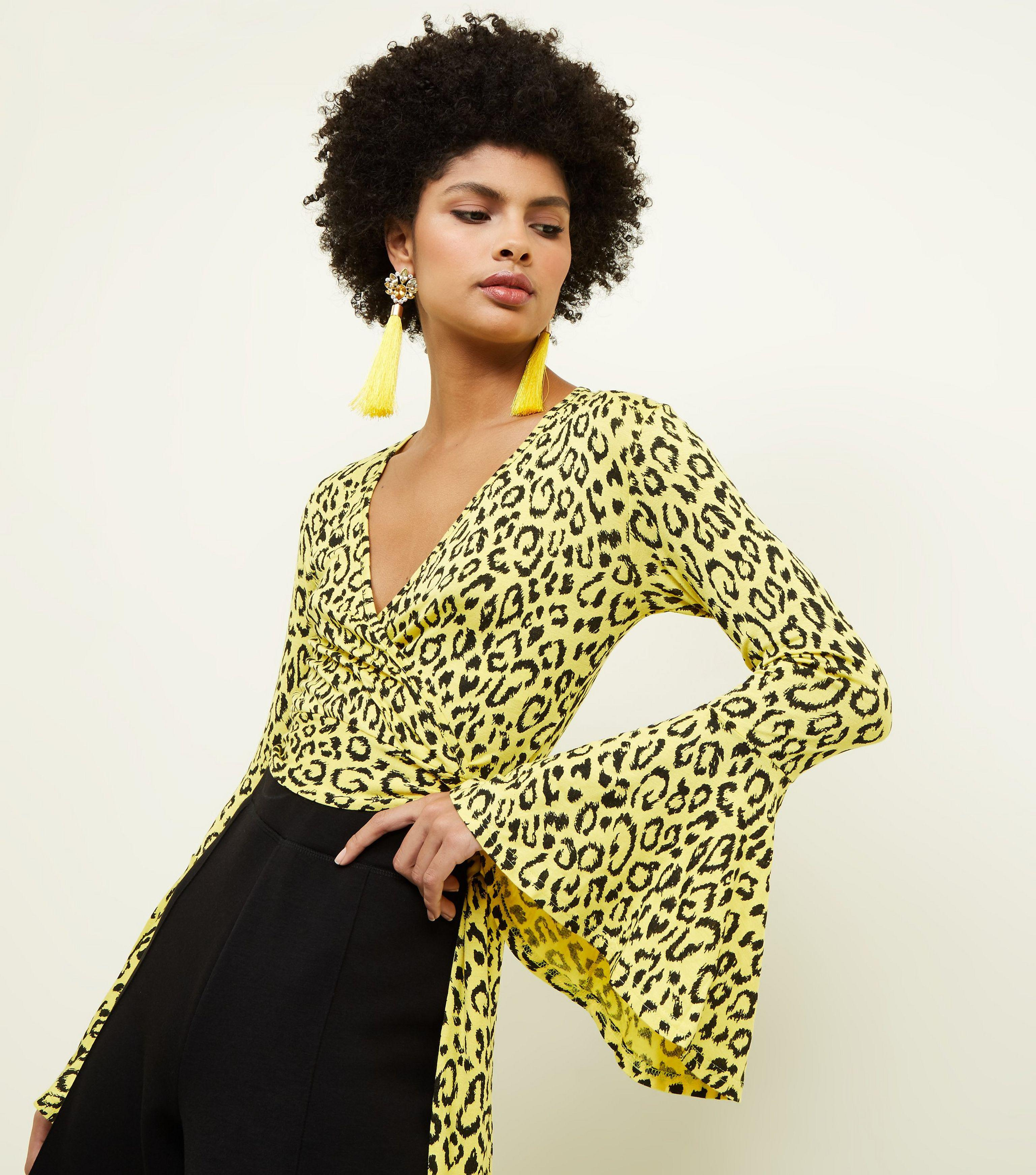 755014cb5e1ba New Look Yellow Leopard Print Bell Sleeve Wrap Top in Yellow - Lyst