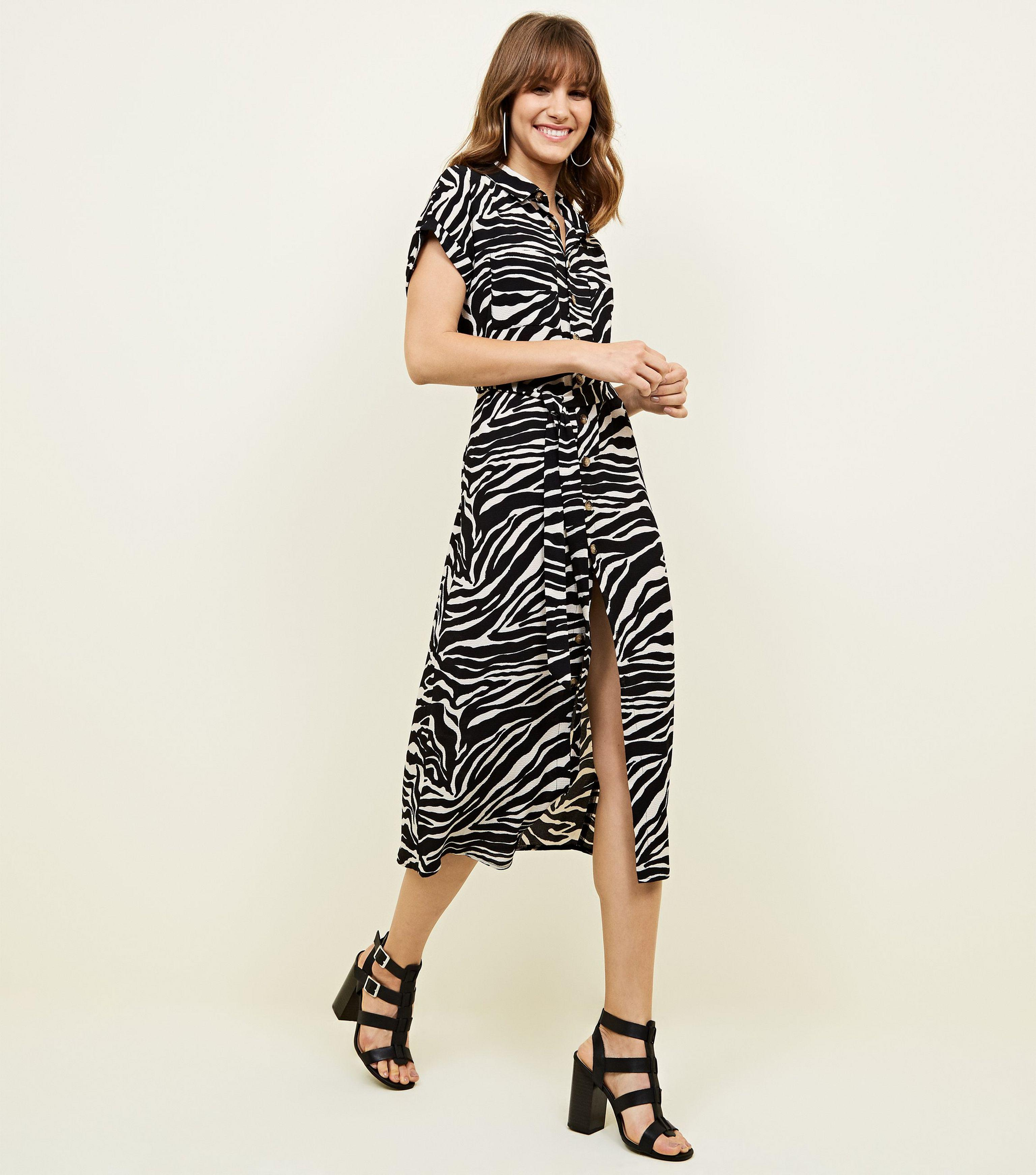 192527c260 New Look Black Zebra Print Midi Shirt Dress in Black - Lyst