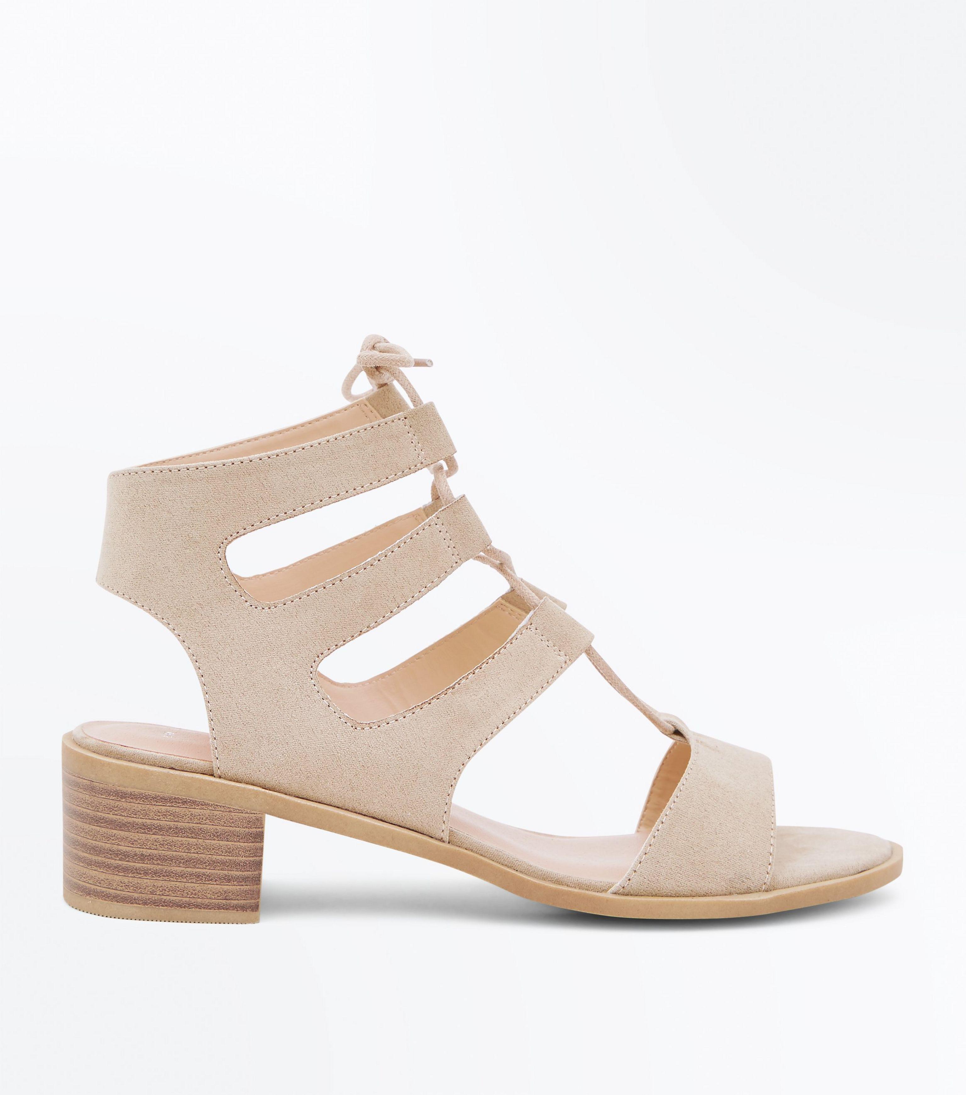 4bfed9d31c0 New Look Wide Fit Brown Suedette Low Heel Ghillie Sandals in Brown ...