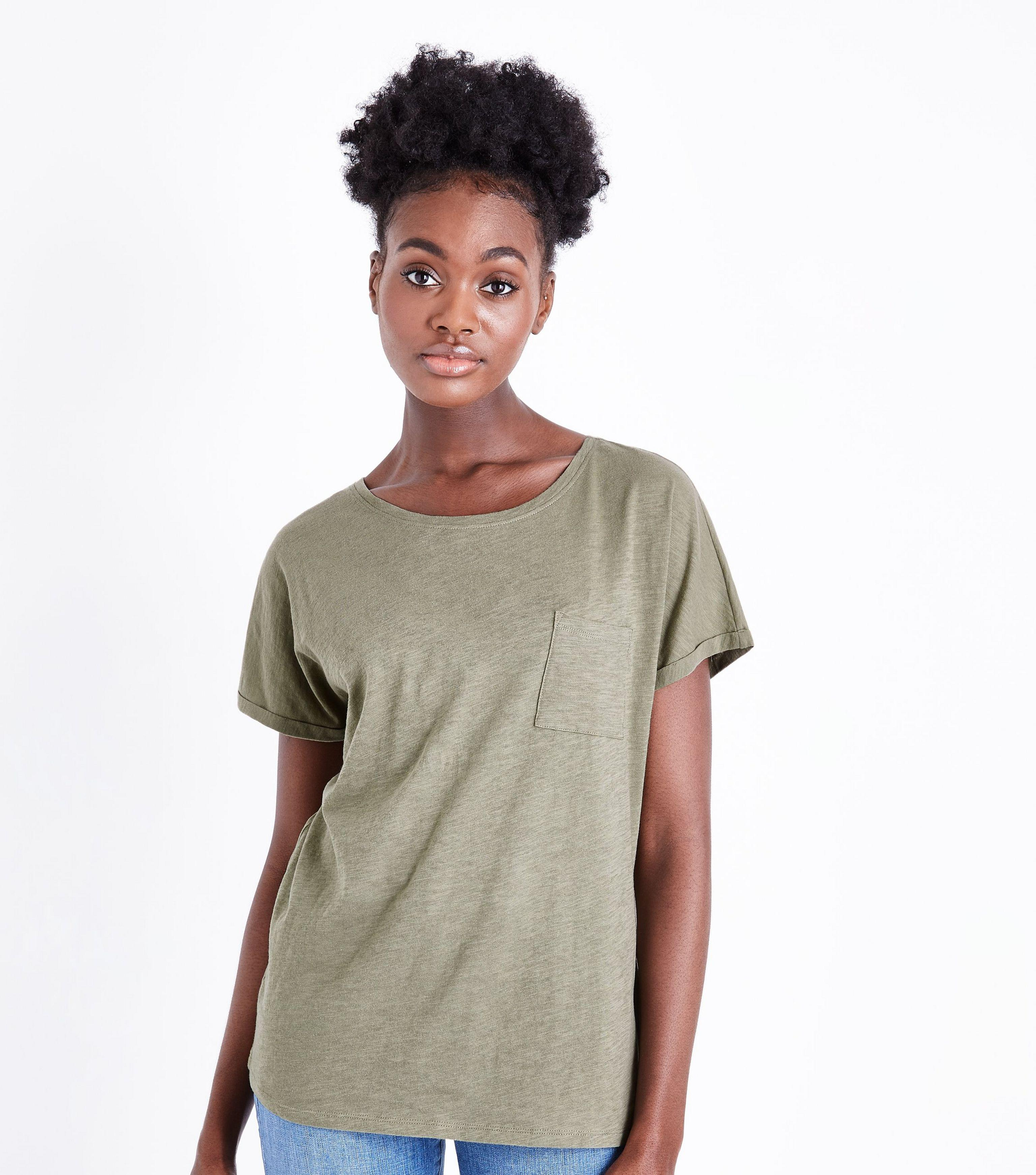 830bb421392a New Look Tall Olive Organic Cotton Pocket Front T-shirt in Green - Lyst