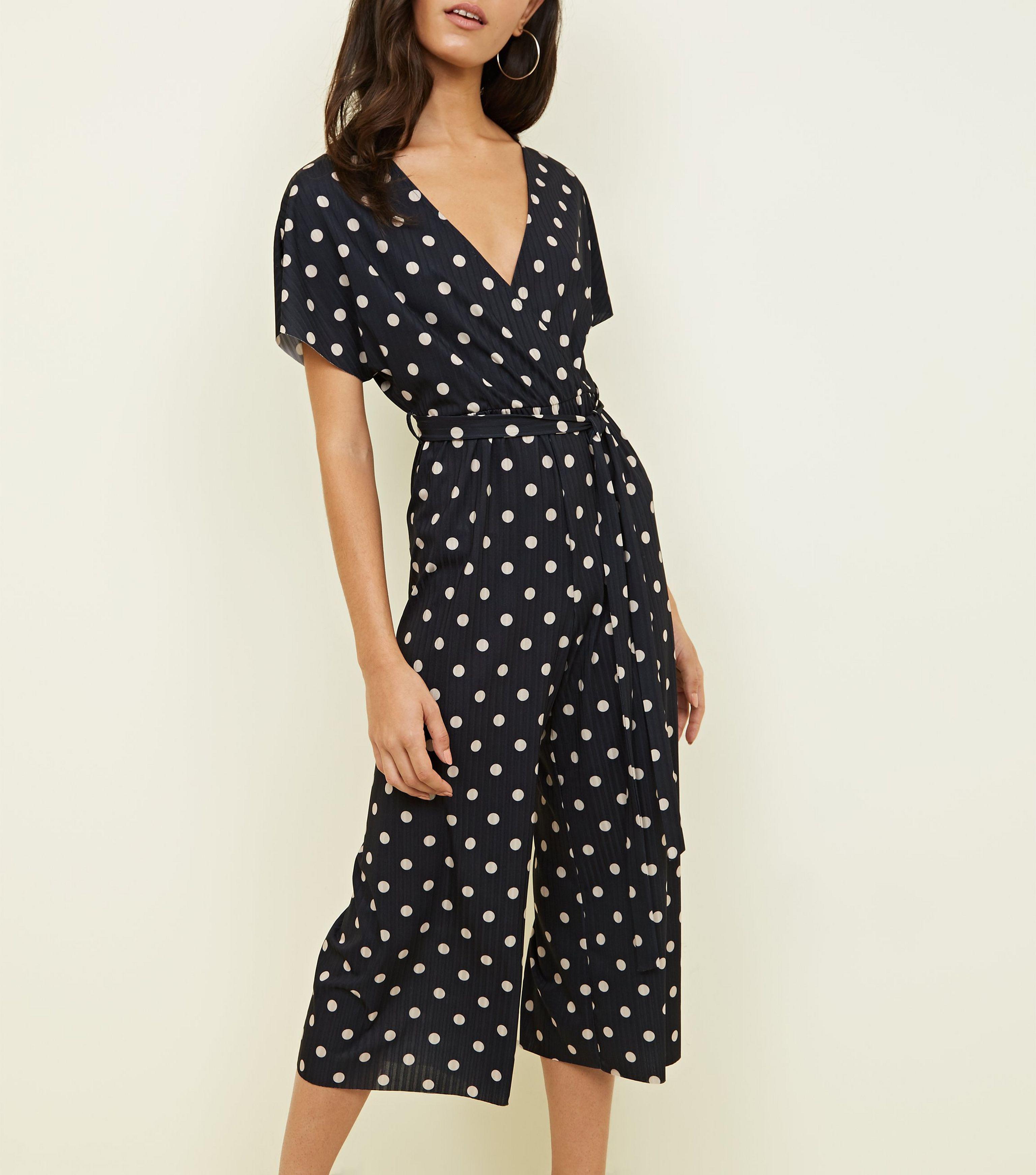 63ea26fd48 New Look Black Spot Print Wrap Culotte Jumpsuit in Black - Lyst